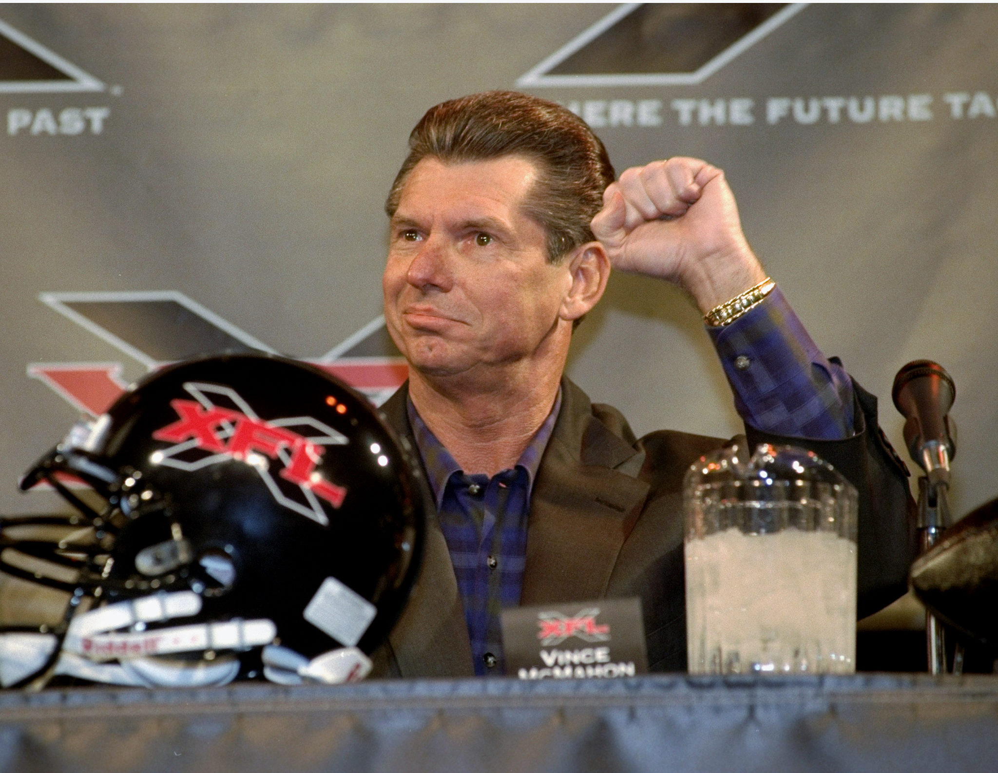 World Wrestling Federation chairman Vince McMahon speaks to