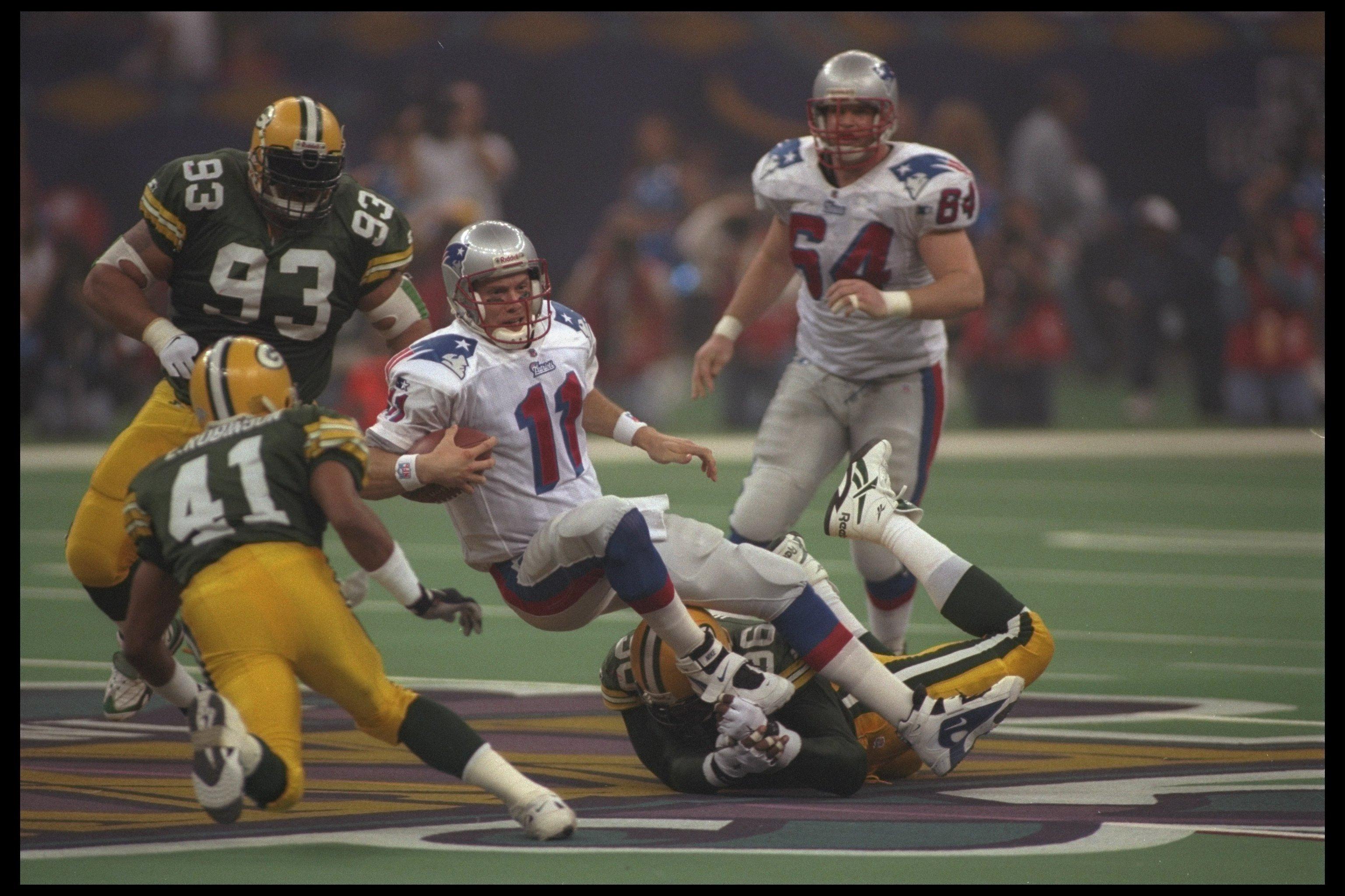 Super Bowl Bledsoe sacked