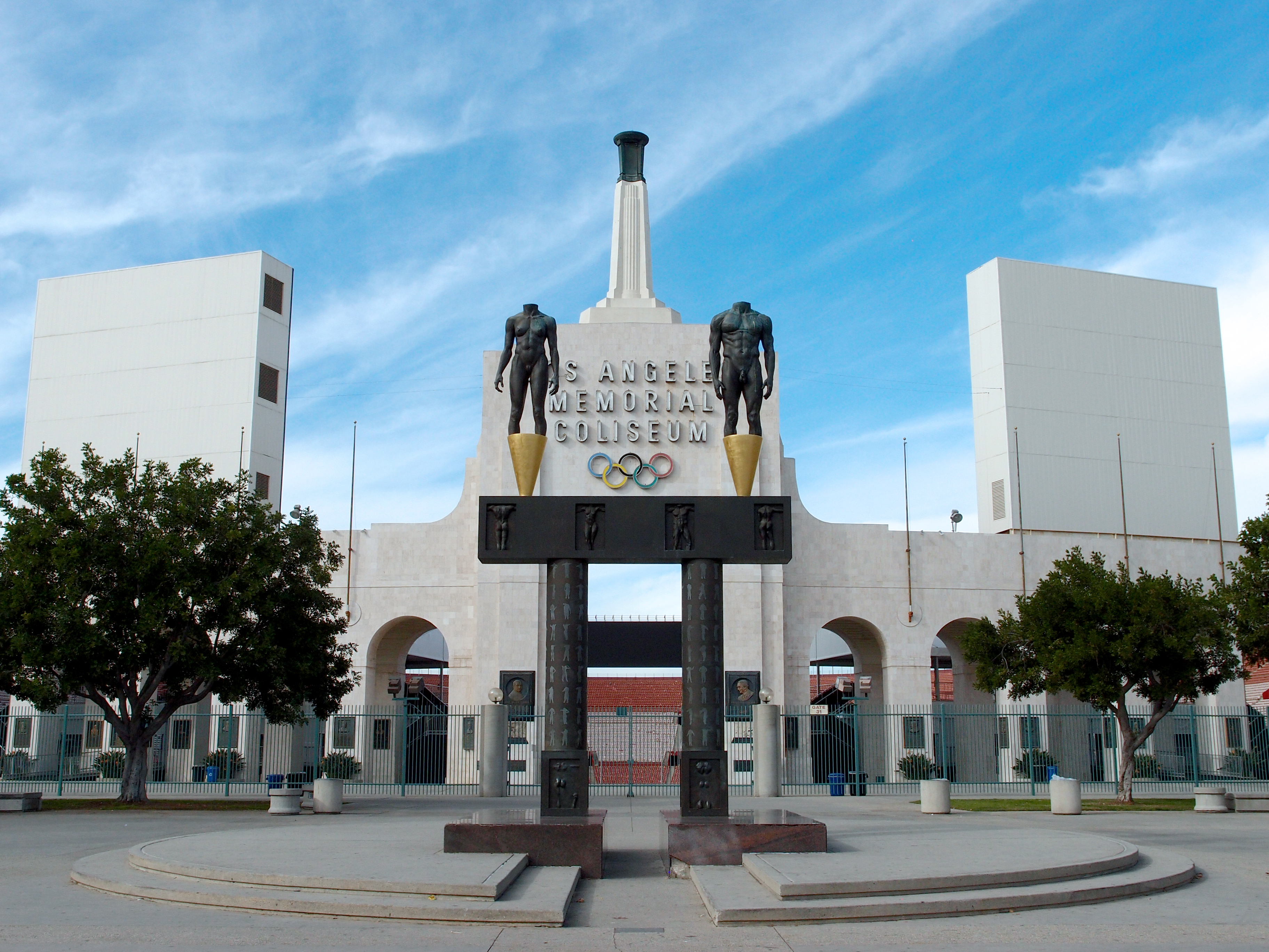 View of Olympic rings on Coliseum