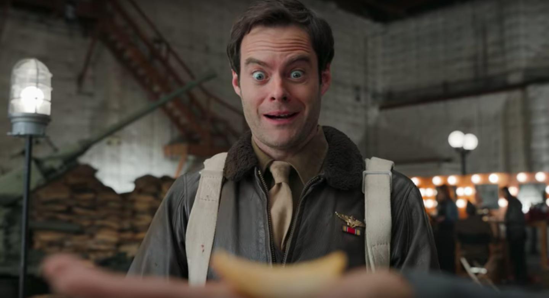 Bill Hader making a funny face in Pringles' Super Bowl ad