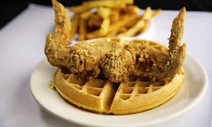 A plate of chicken and waffles.