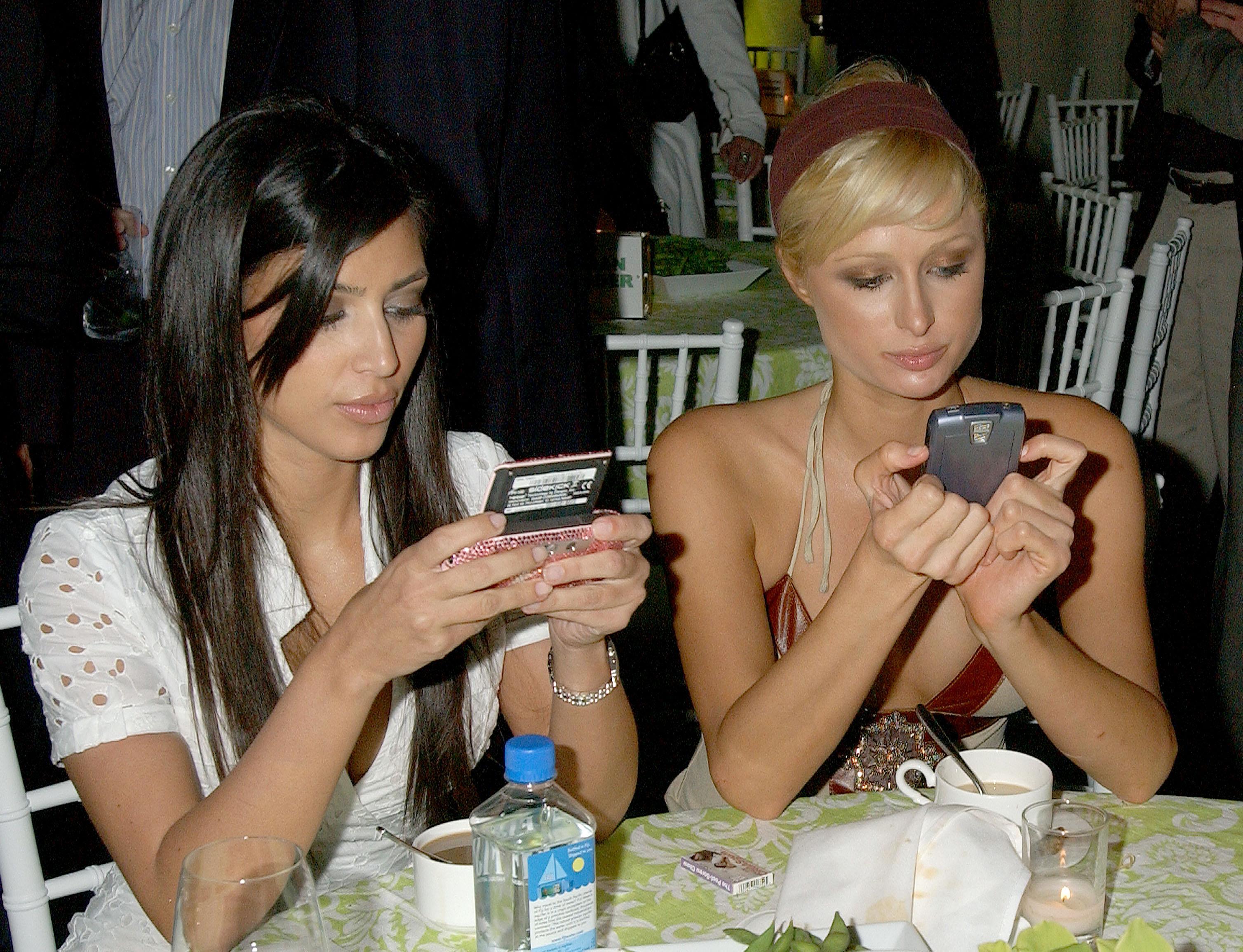Kim Kardashian and Paris Hilton at the LA premiere of Entourage in 2006.