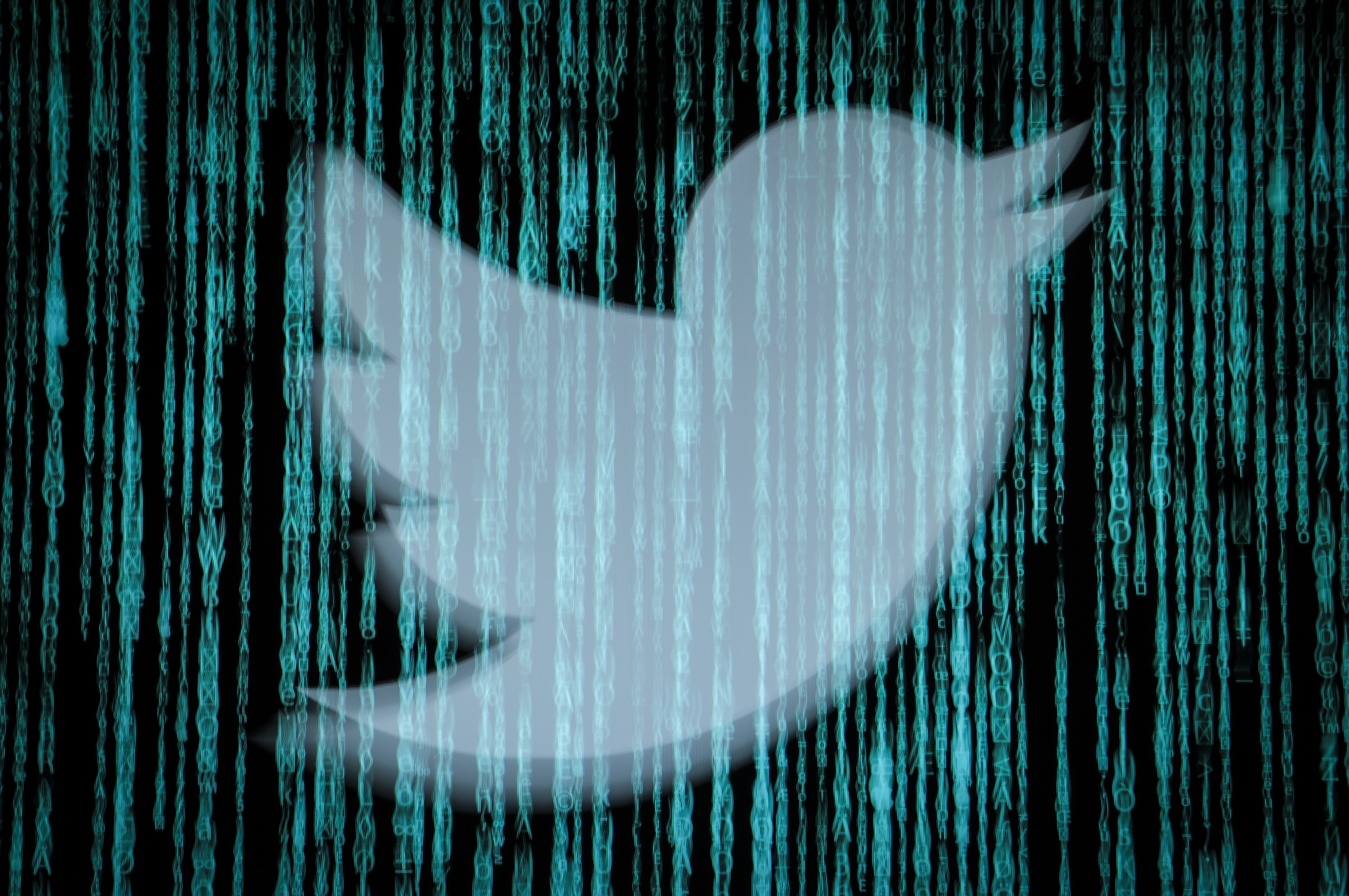 A photo illustration of the Twitter bird logo covered in Matrix-style computer screen lines