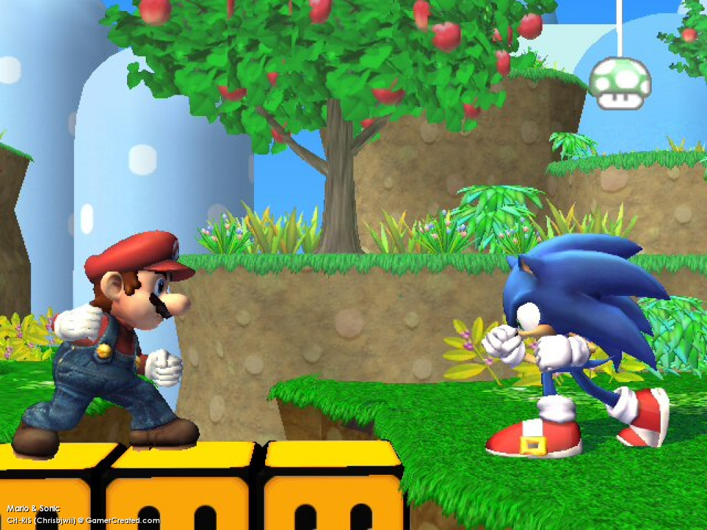 sonic and mario in brawl