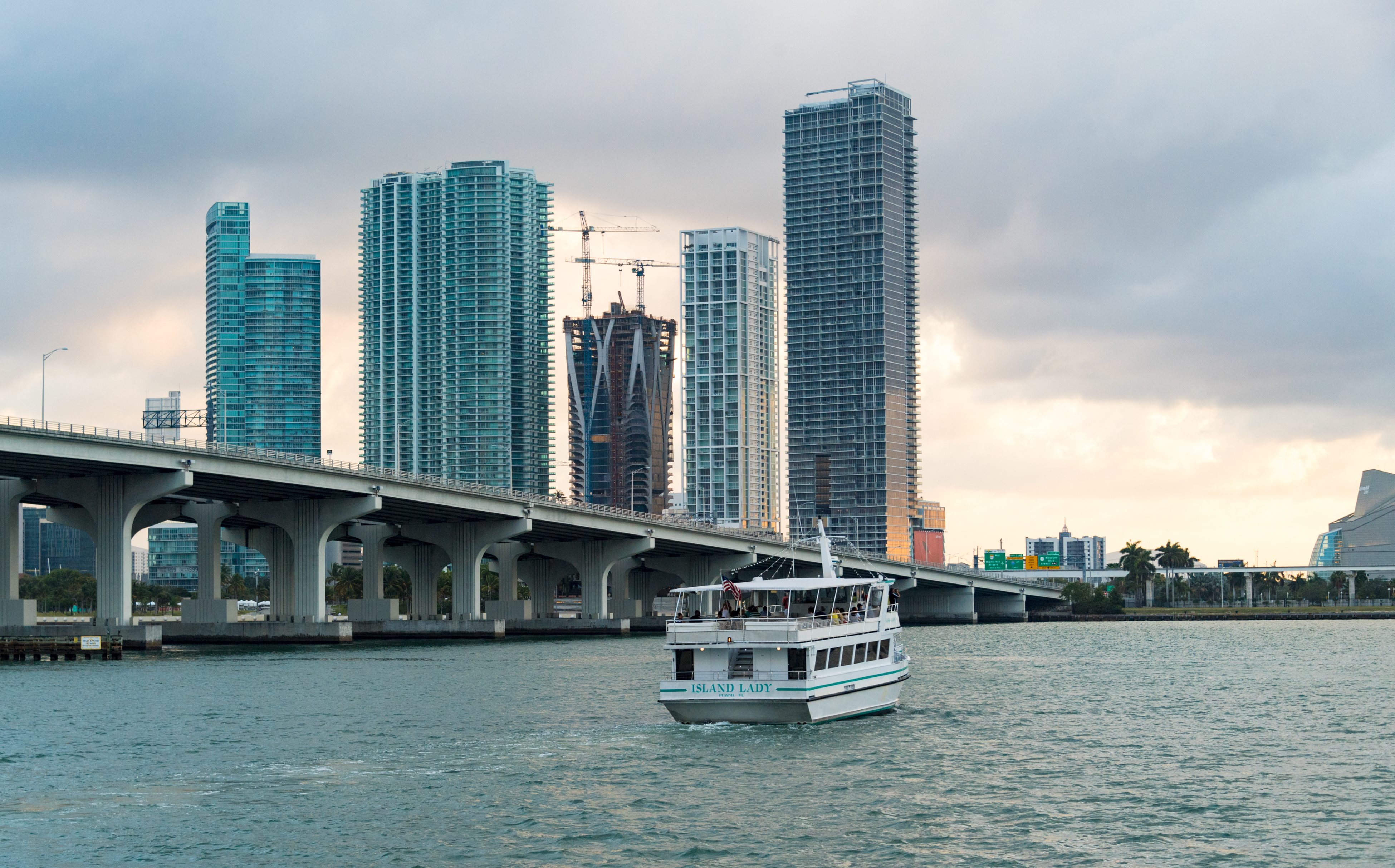 Urban skyline and downtown district of Miami city. Point of...