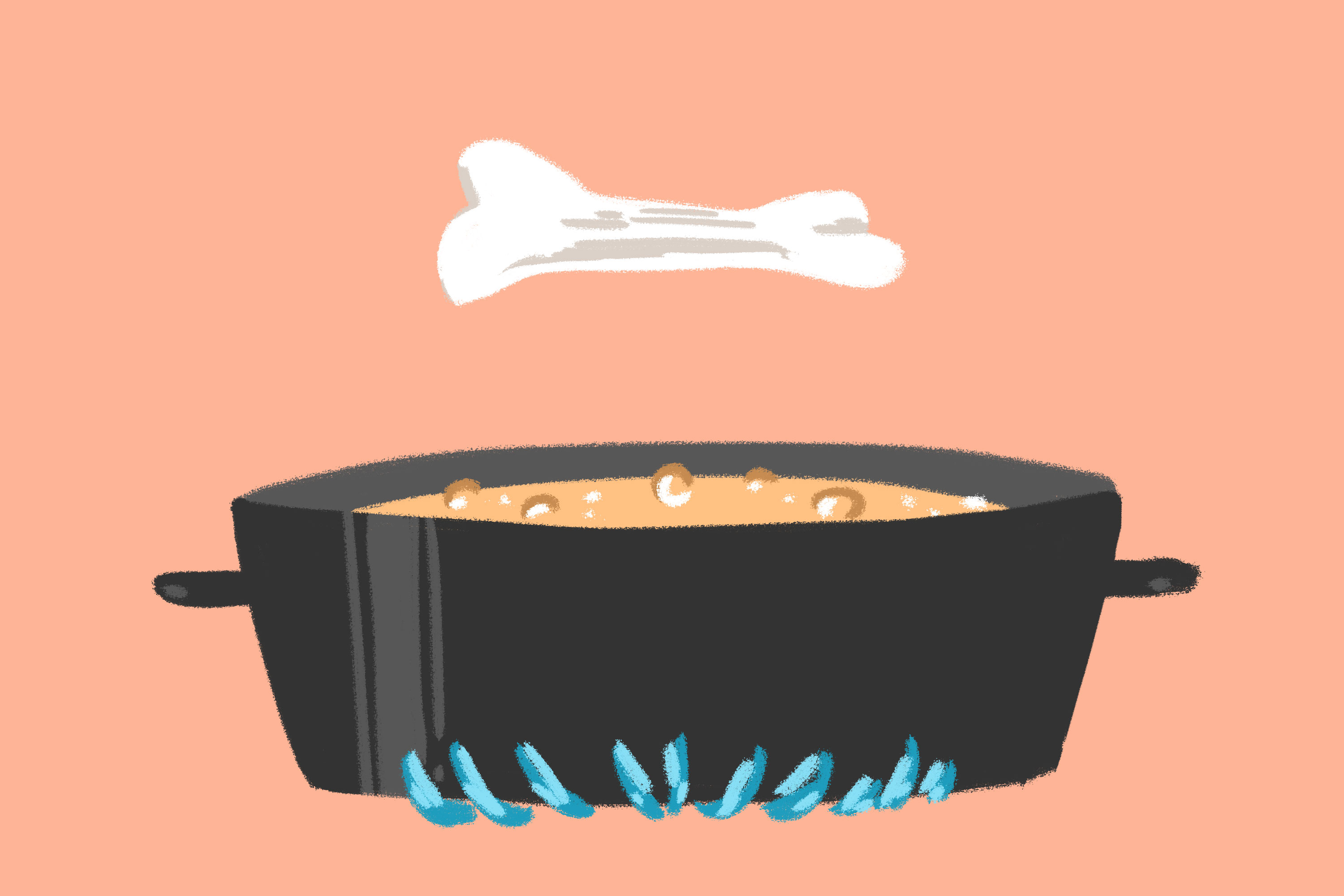 Illustration of a bone hovering above broth simmering in pot