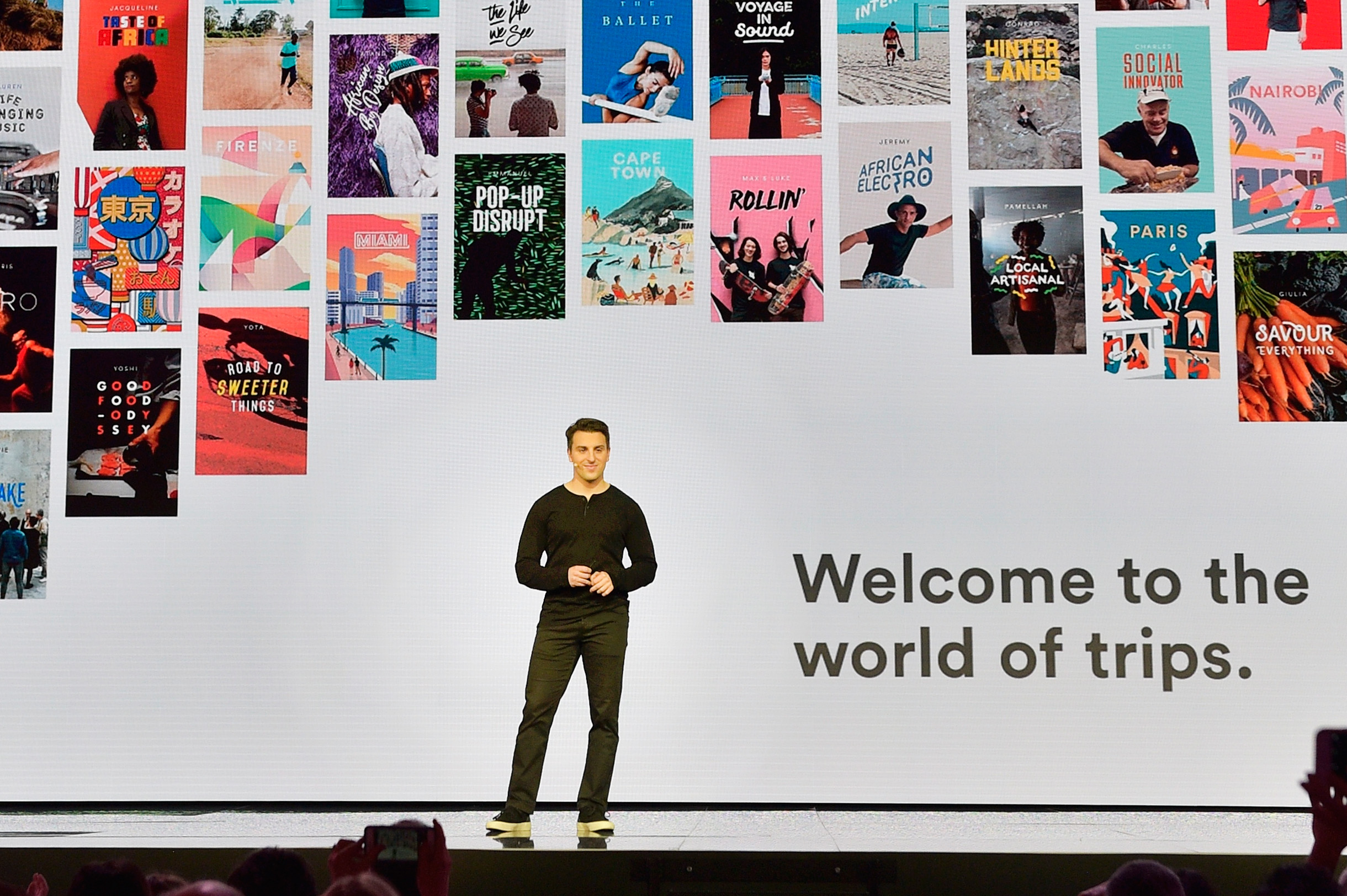 Airbnb co-founder and CEO Brian Chesky speaks onstage at 'Introducing Trips' Reveal at Airbnb Open LA on November 17, 2016