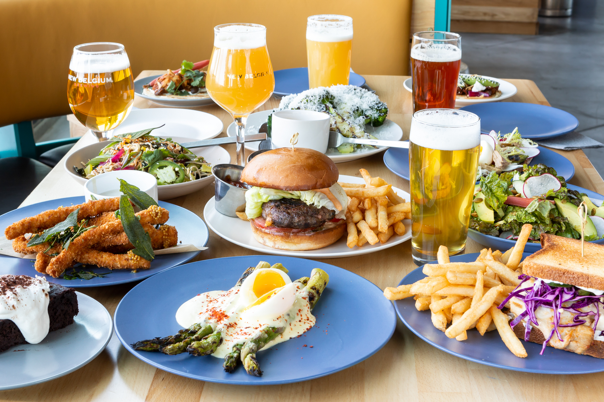 Dishes and beer from New Belgium