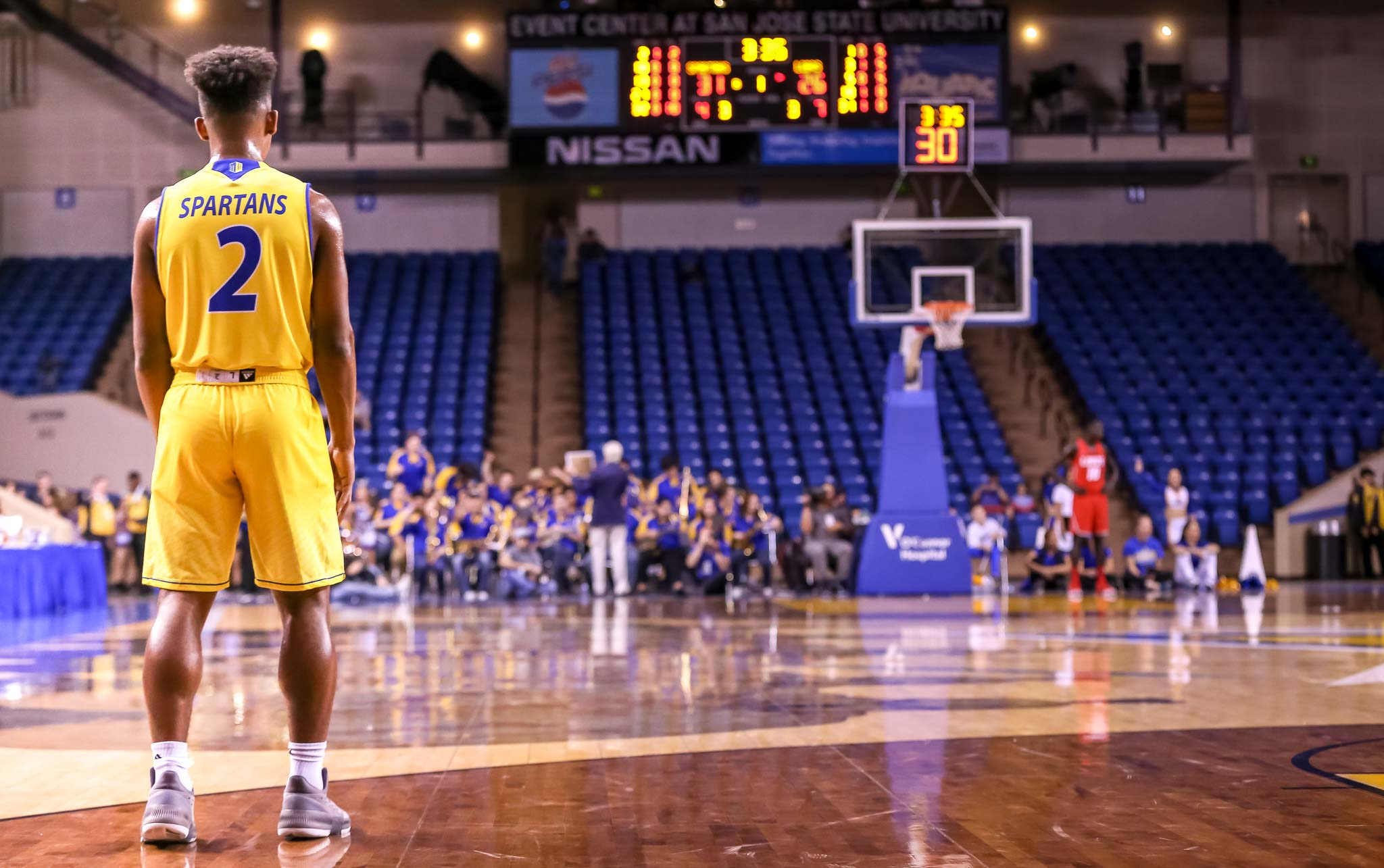 San Jose State Guard, Nai Carlisle, awaits play after a timeout vs. New Mexico State at the San Jose Event Center, February, 3, 2018