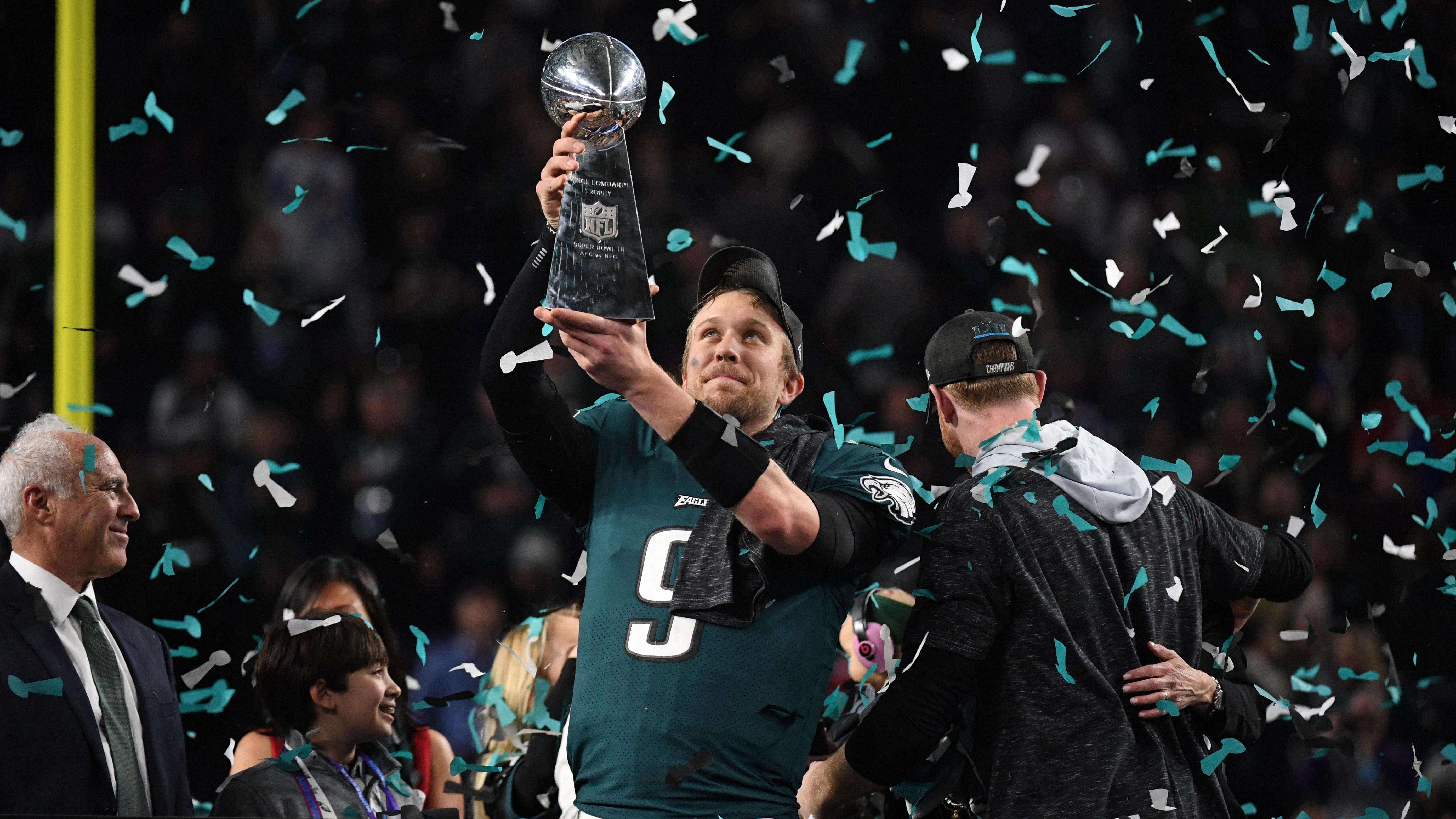 Philadelphia Eagles quarterback Nick Foles with the Super Bowl trophy