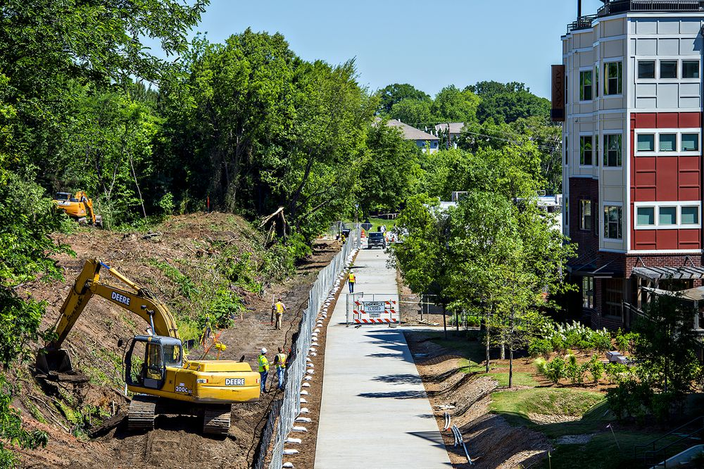 As seen last spring, the Beltline's Eastside Trail extension is bordered by thousands of residential units, with hundreds more under construction.