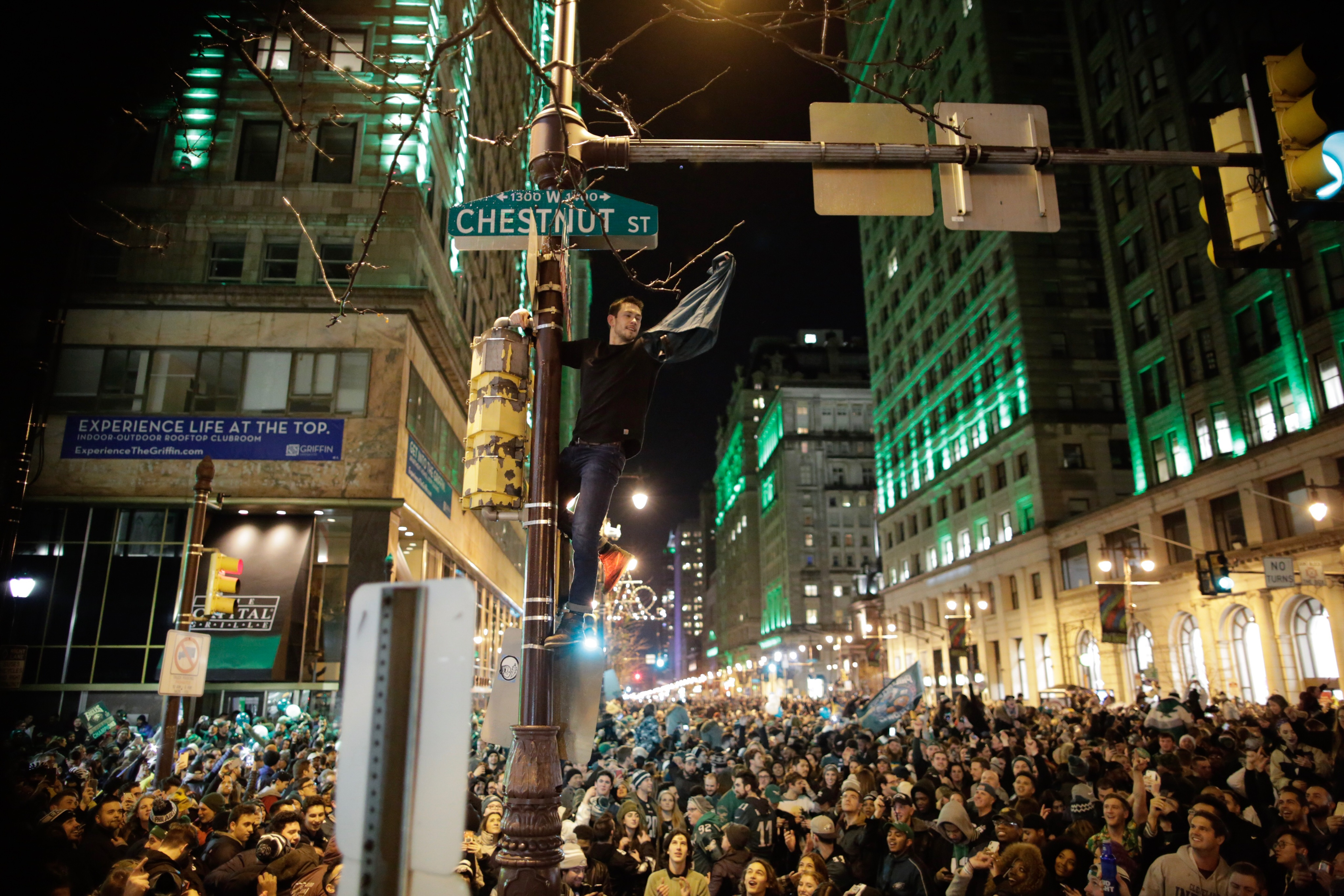 Philadelphia Eagles' Fans Gather To Watch Their Team In Super Bowl LII Against The New England Patriots