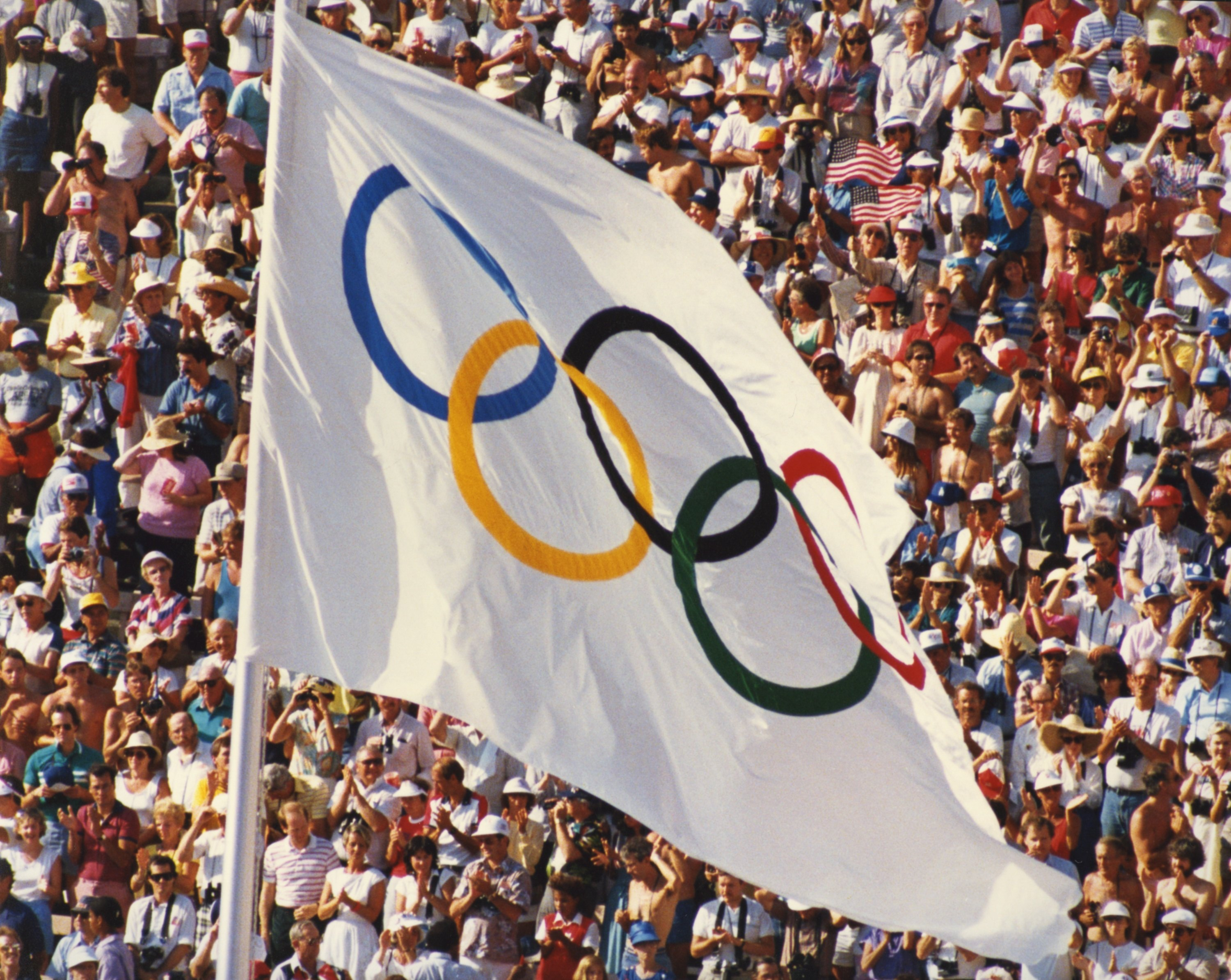 An Olympic flag at the 1988 Olympic Games in Seoul, South Korea.