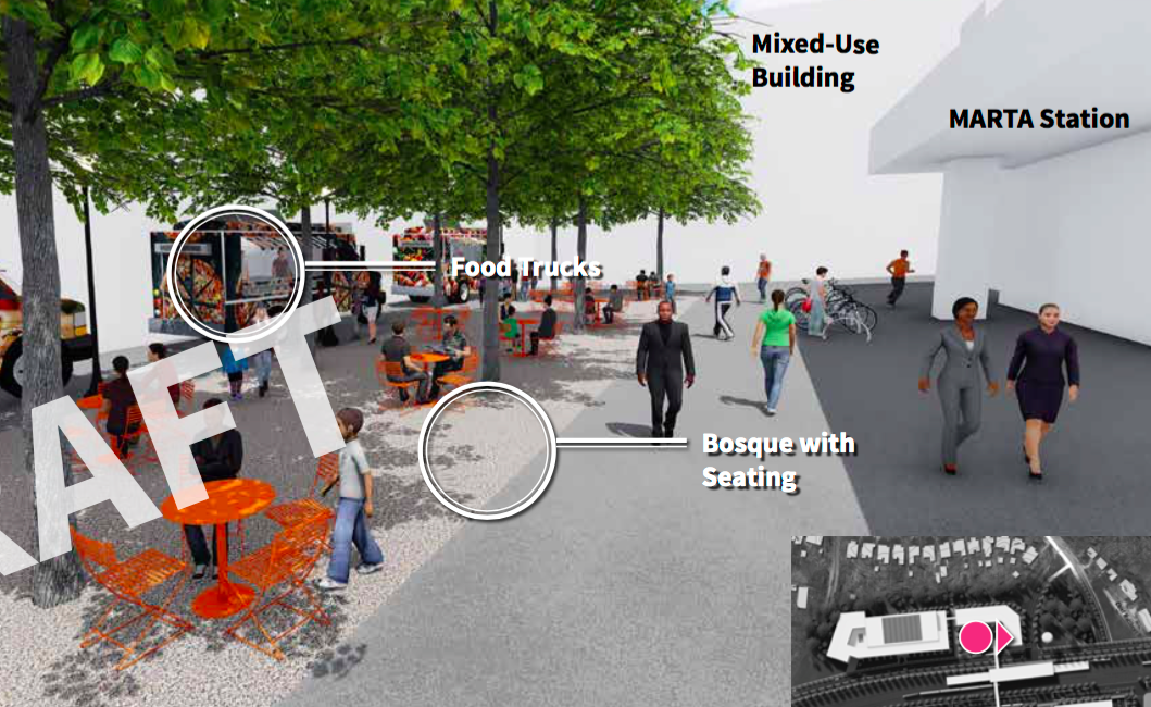 """A tentative rendering that depicts how East Lake's """"front porch"""" might look, next to MARTA service."""