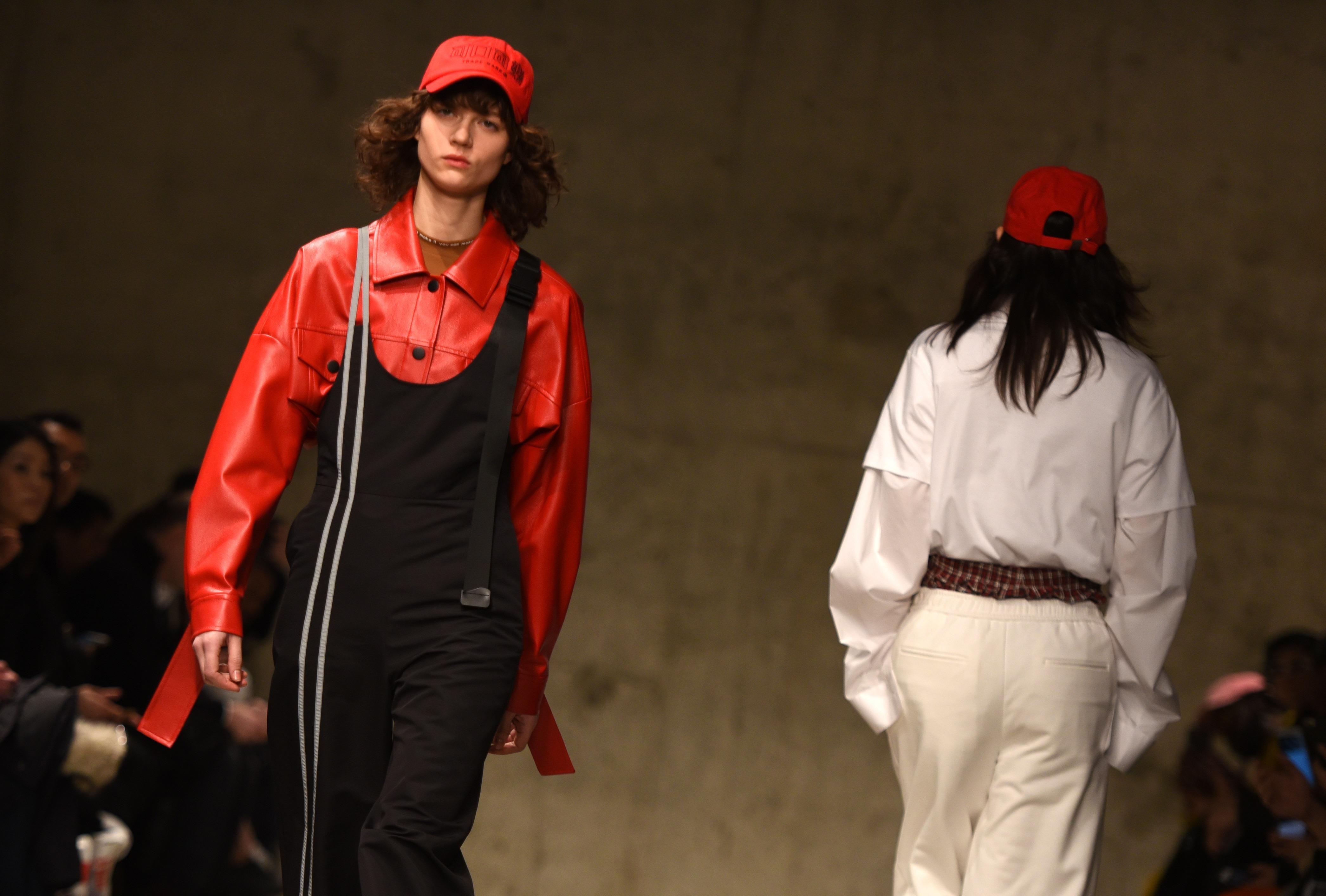 A model walks the runway at New York Fashion Week: China Day