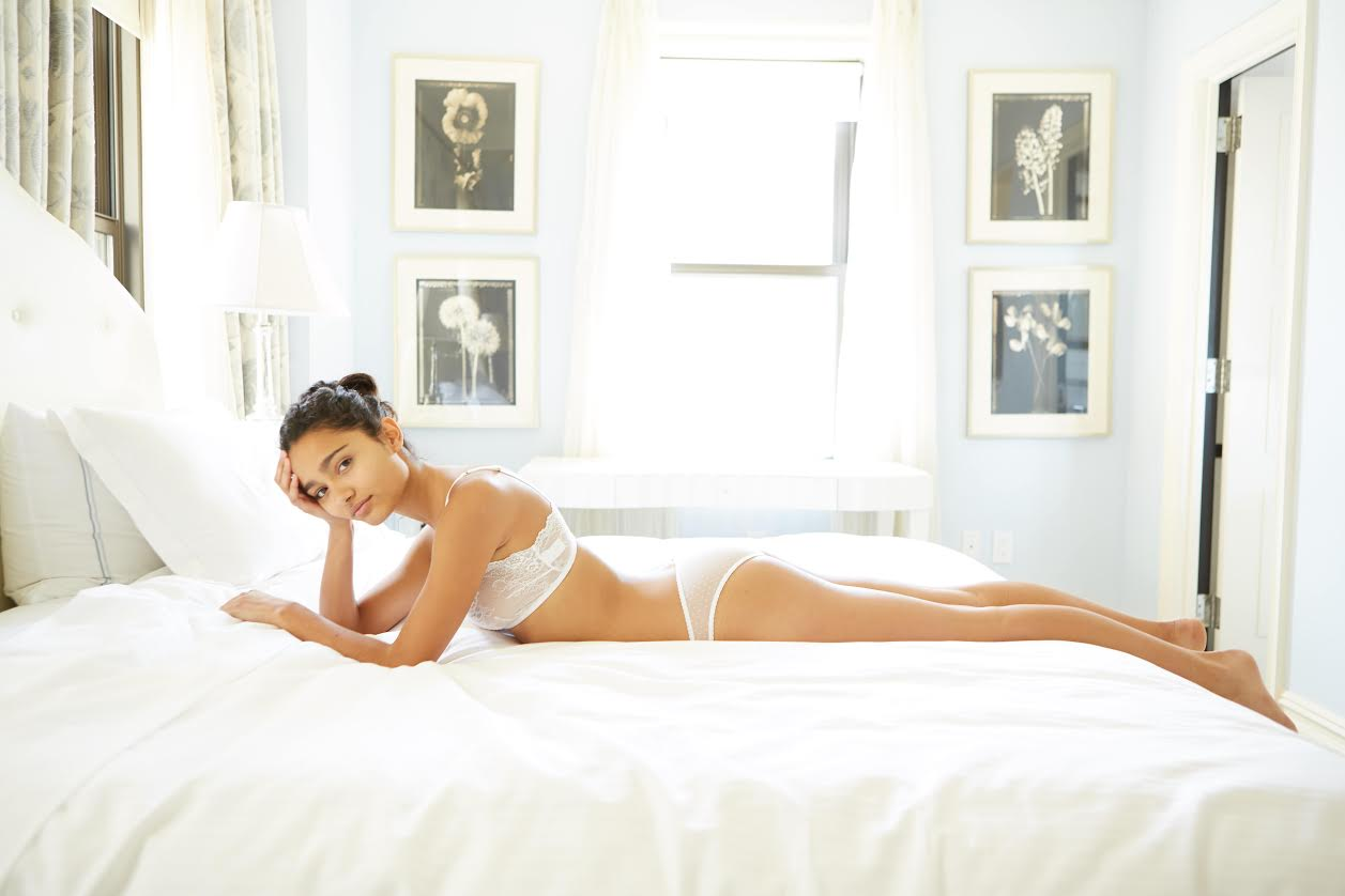A model in a Sleepy Jones lingerie set