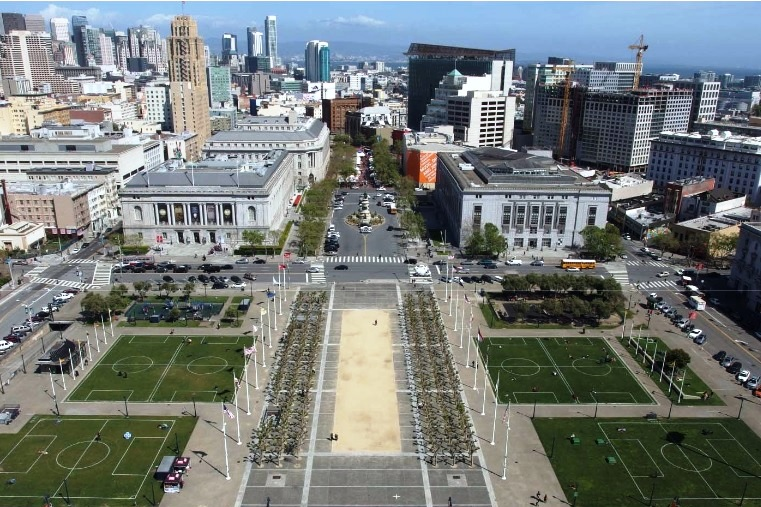 A view of Civic Center Plaza from the dome of City Hall.