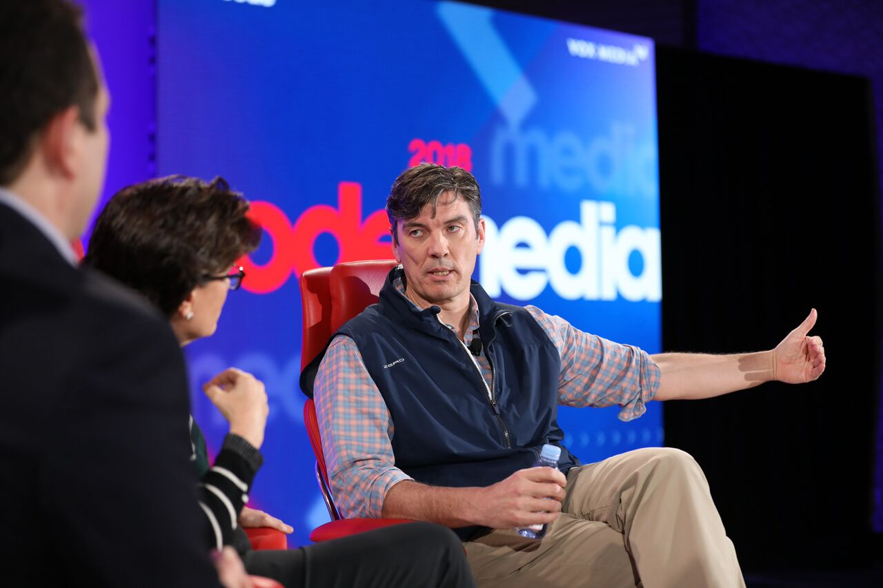 Oath CEO Tim Armstrong onstage at Code Media