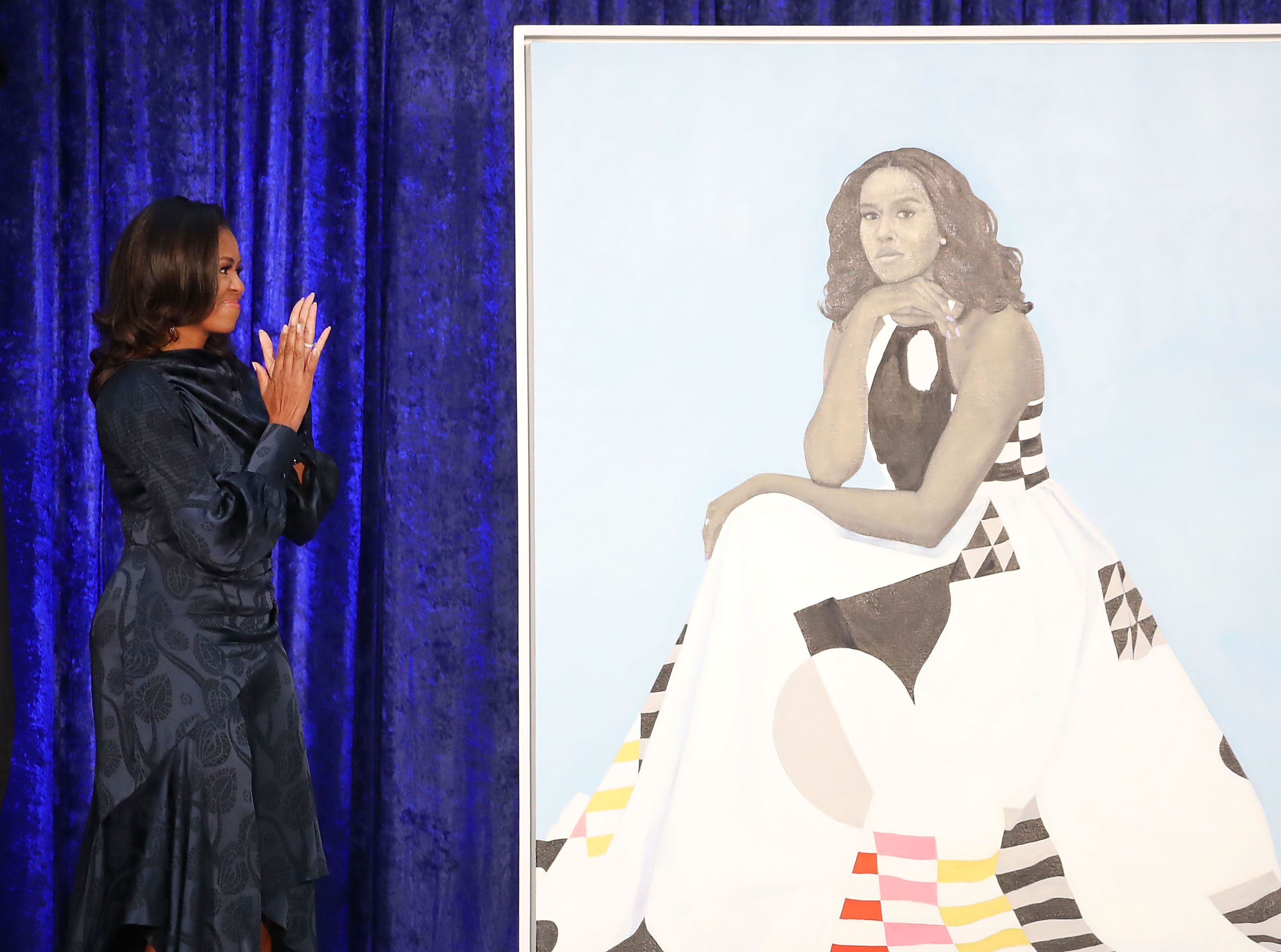 Michelle Obama unveiling her official portrait