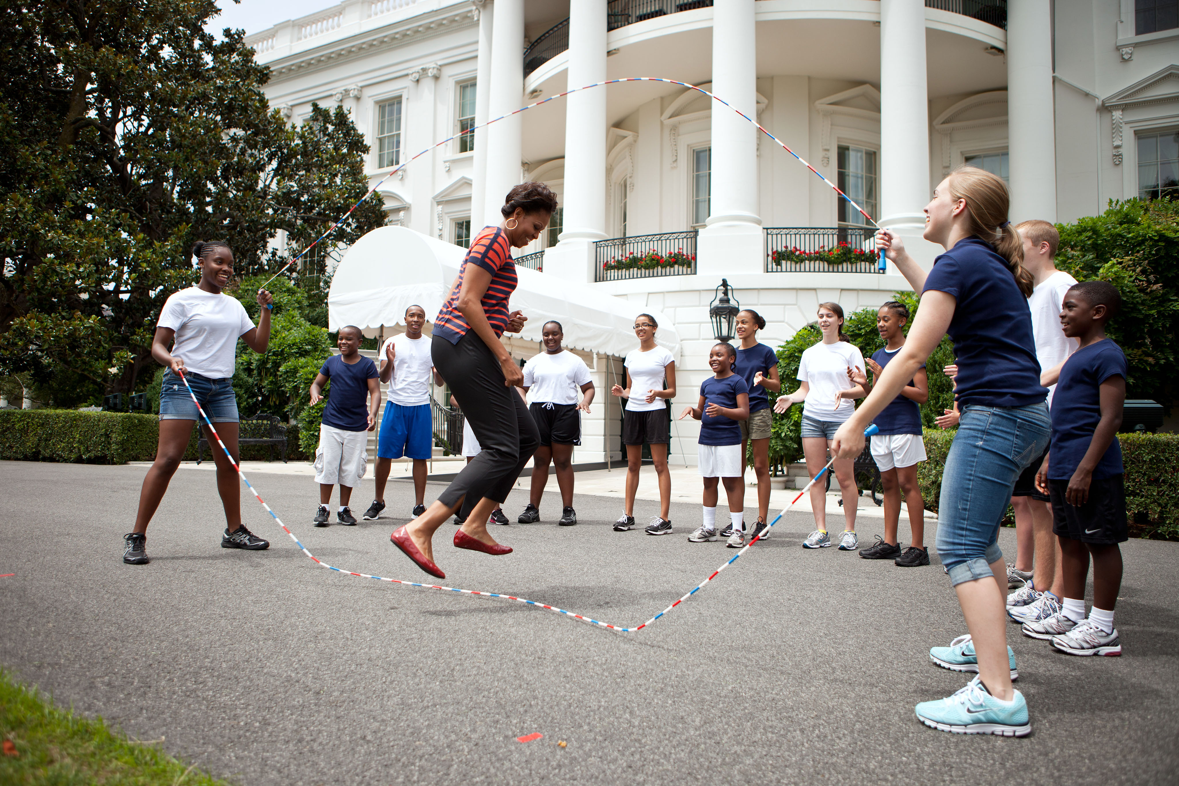Michelle Obama jumping rope at the White House in July 2011