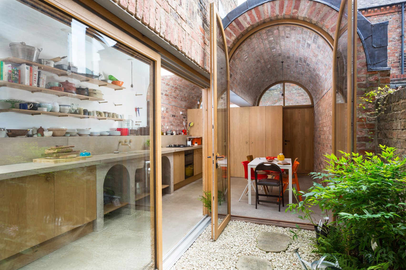Brick Victorian Rowhouse Gets A Double Vaulted Extension
