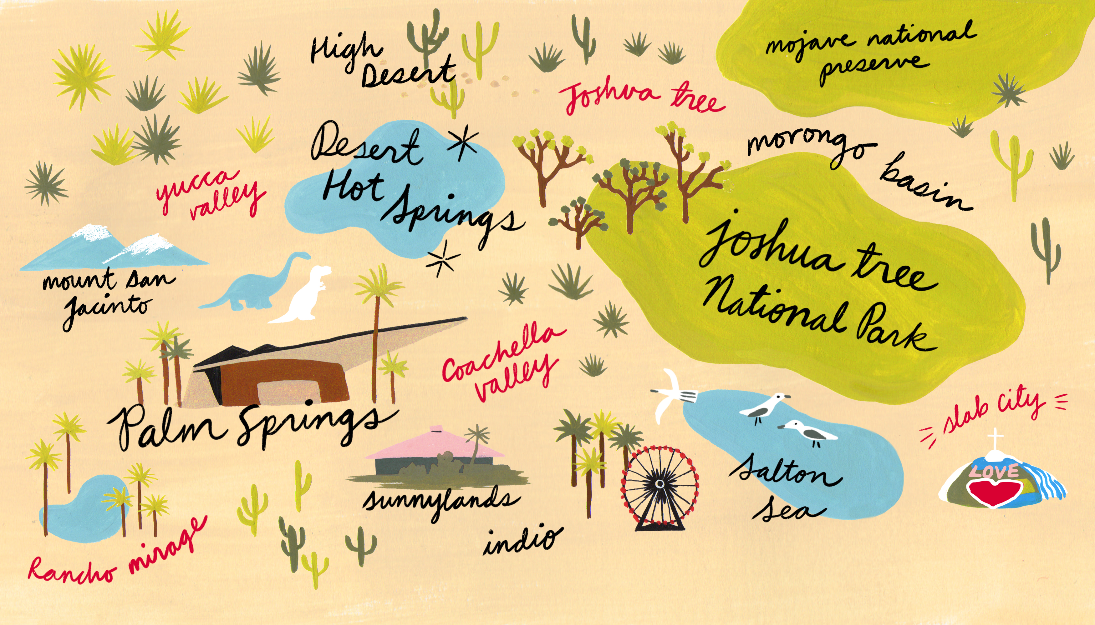 An illustration with the names of various places in the California desert written on it.