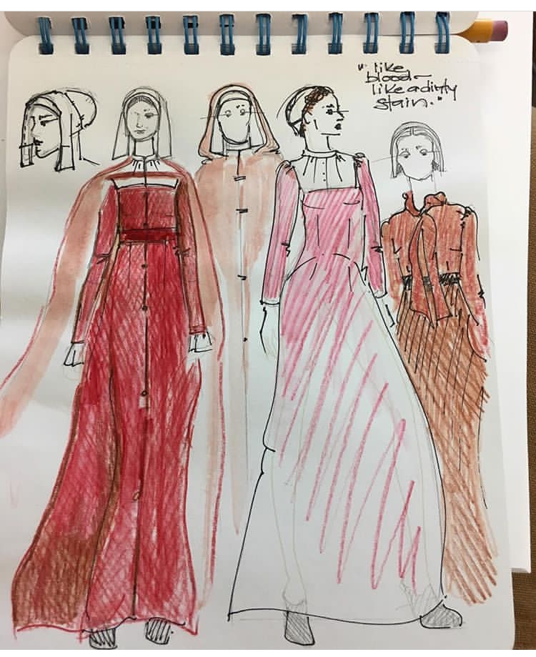 """A sketch of four women wearing four different costume ideas for """"The Handmaid's Tale"""""""
