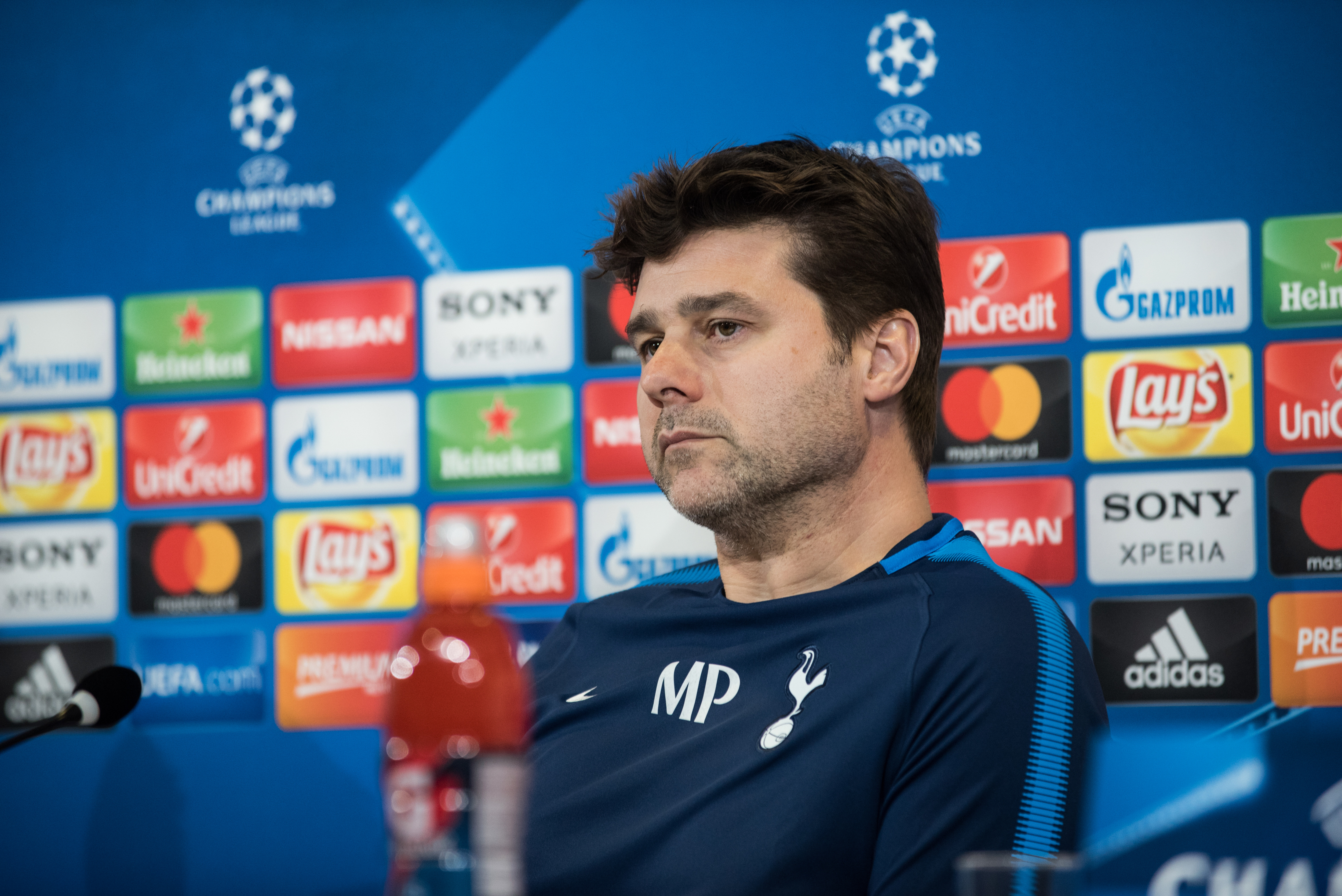 Mauricio Pochettino head coach of Tottenham during the press...