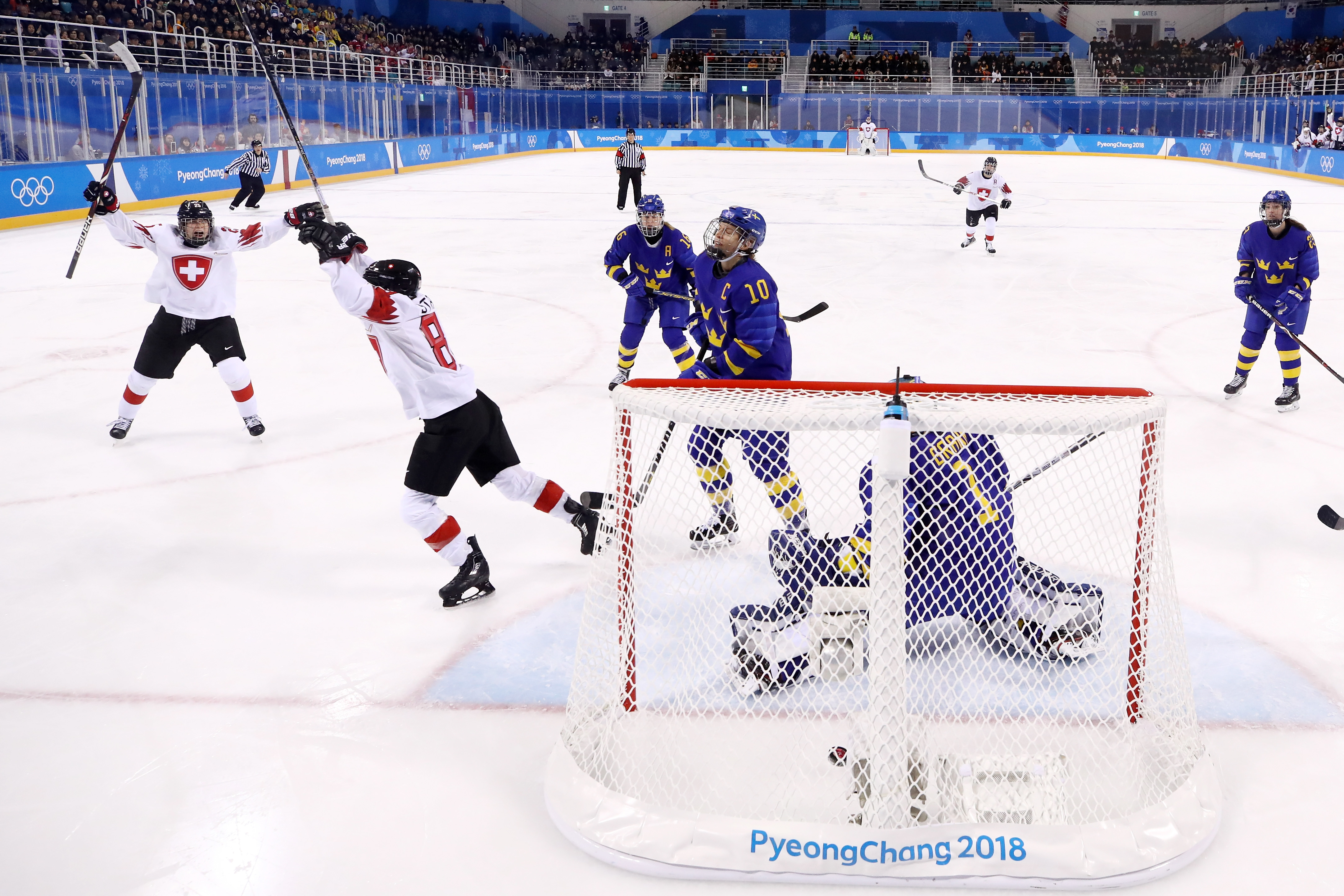 Phoebe Staenz #88 of Switzerland reacts after scoring a goal against Sweden