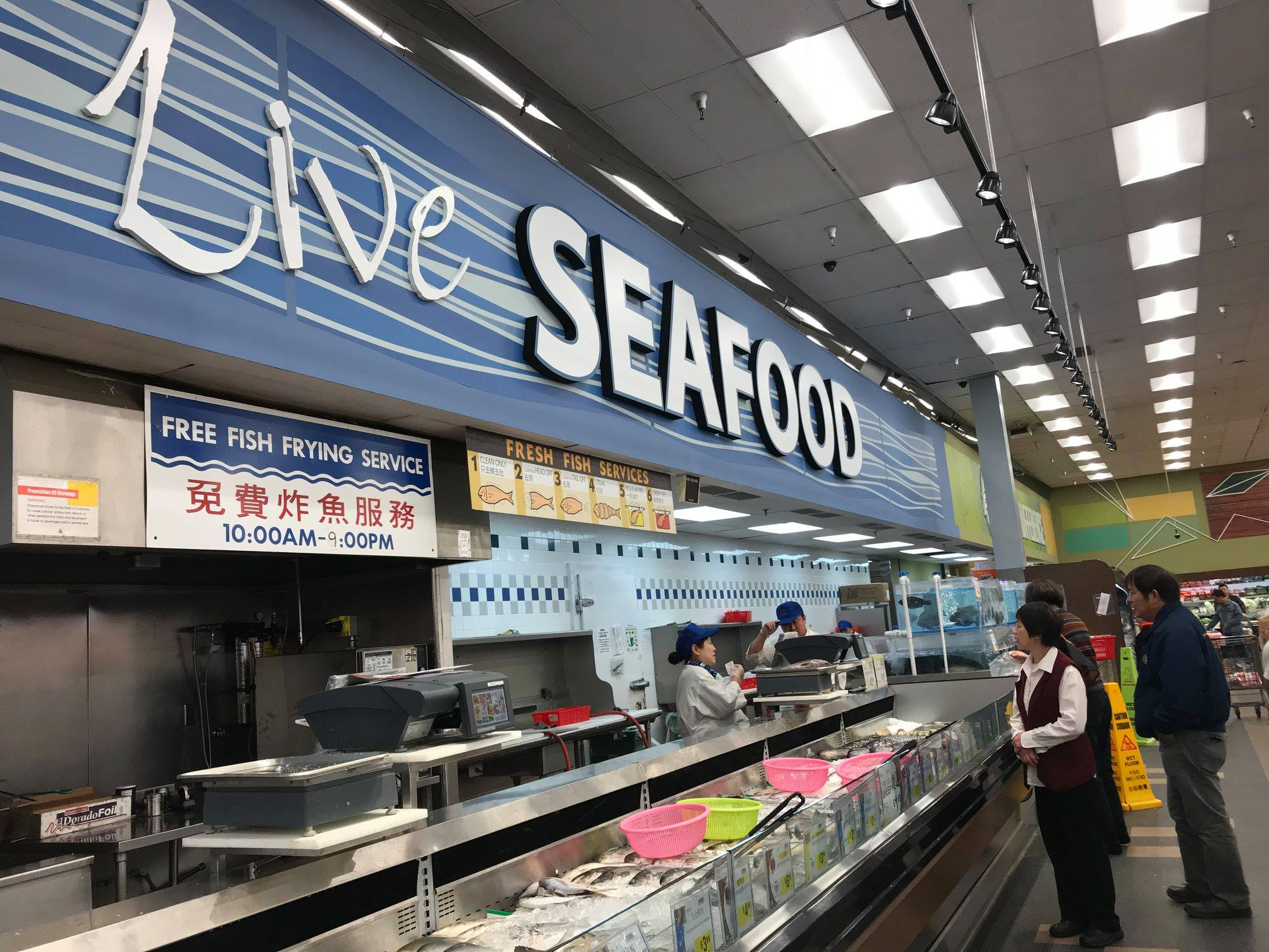 The fresh seafood section of 99 Ranch Market