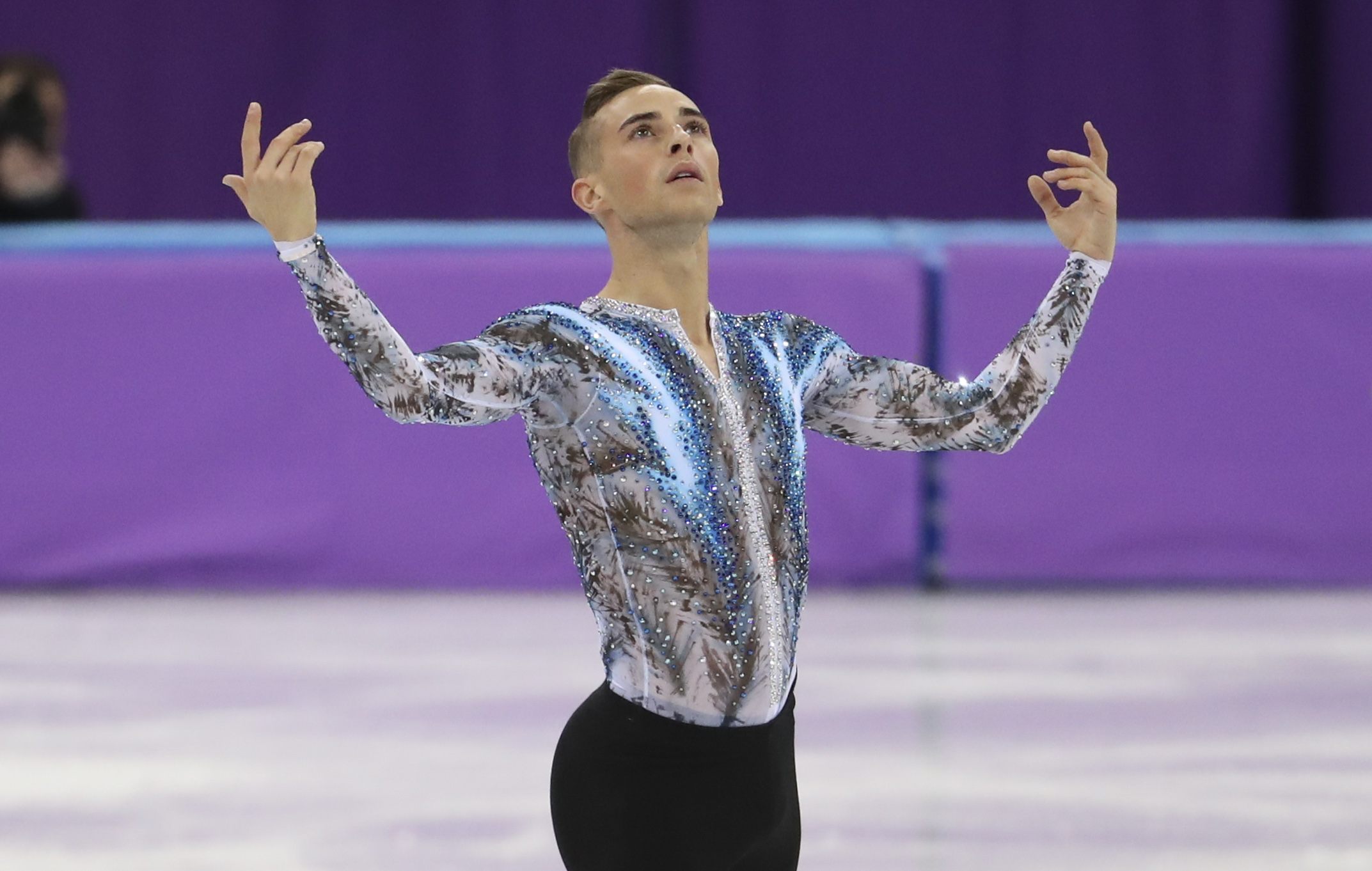 Adam Rippon of USA competes in the Men Free Skating during the Figure Skating Team Event on day three of the PyeongChang 2018 Winter Olympic Games at Gangneung Ice Arena on February 12, 2018 in Gangneung, South Korea.