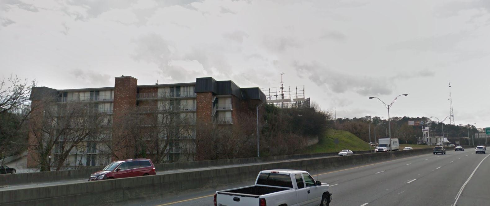 A six-story mid-century motel.