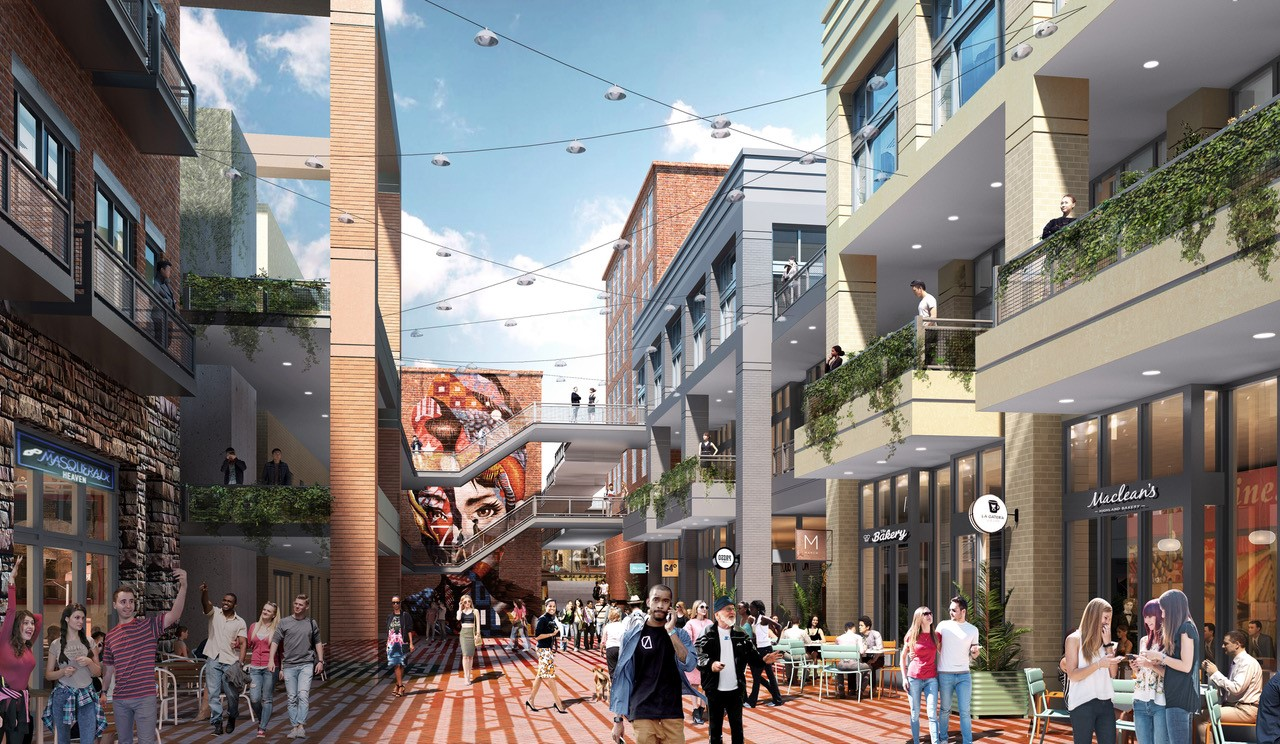 A rendering of people walking in a retail corridor with glassy storefronts and blue sky overhead.