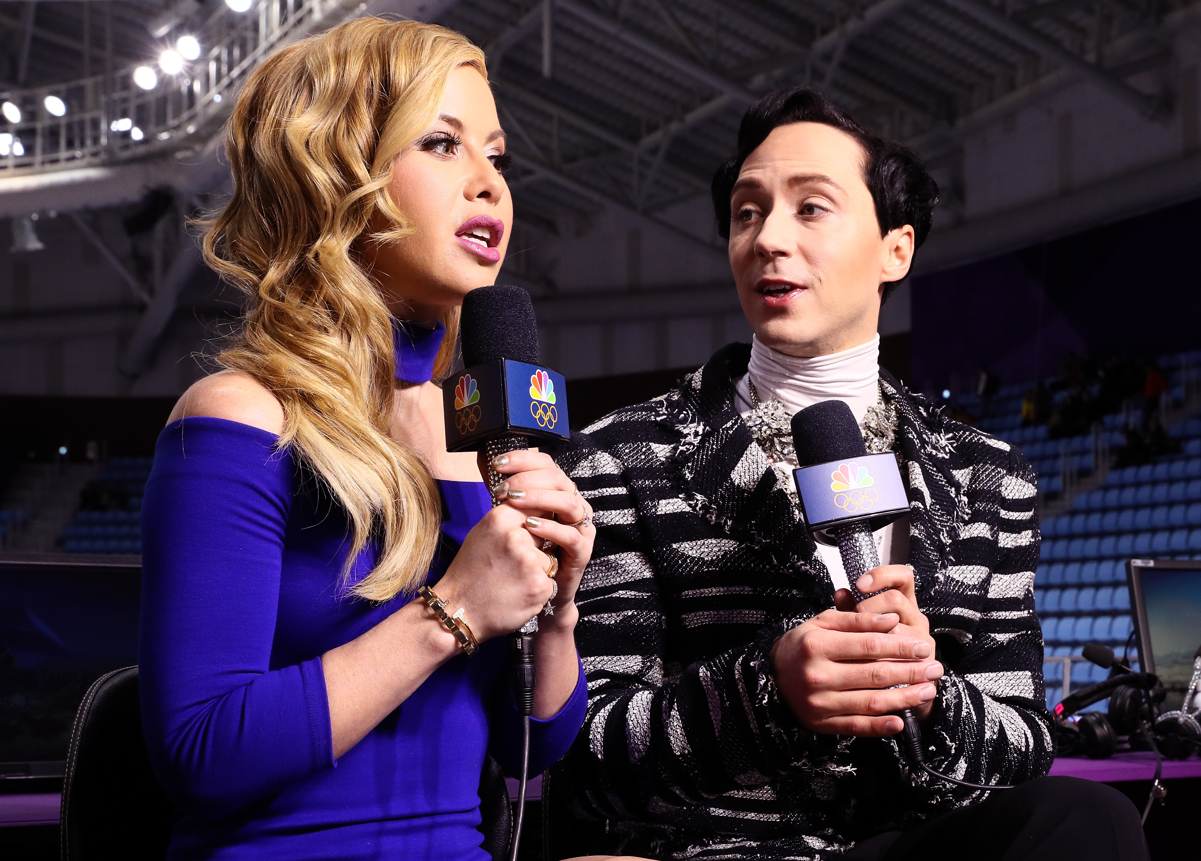 Figure skating announcers Tara Lipinski and Johnny Weir prepare for the pair skating short program on Day 5 of the 2018 Winter Olympics in Pyeongchang.