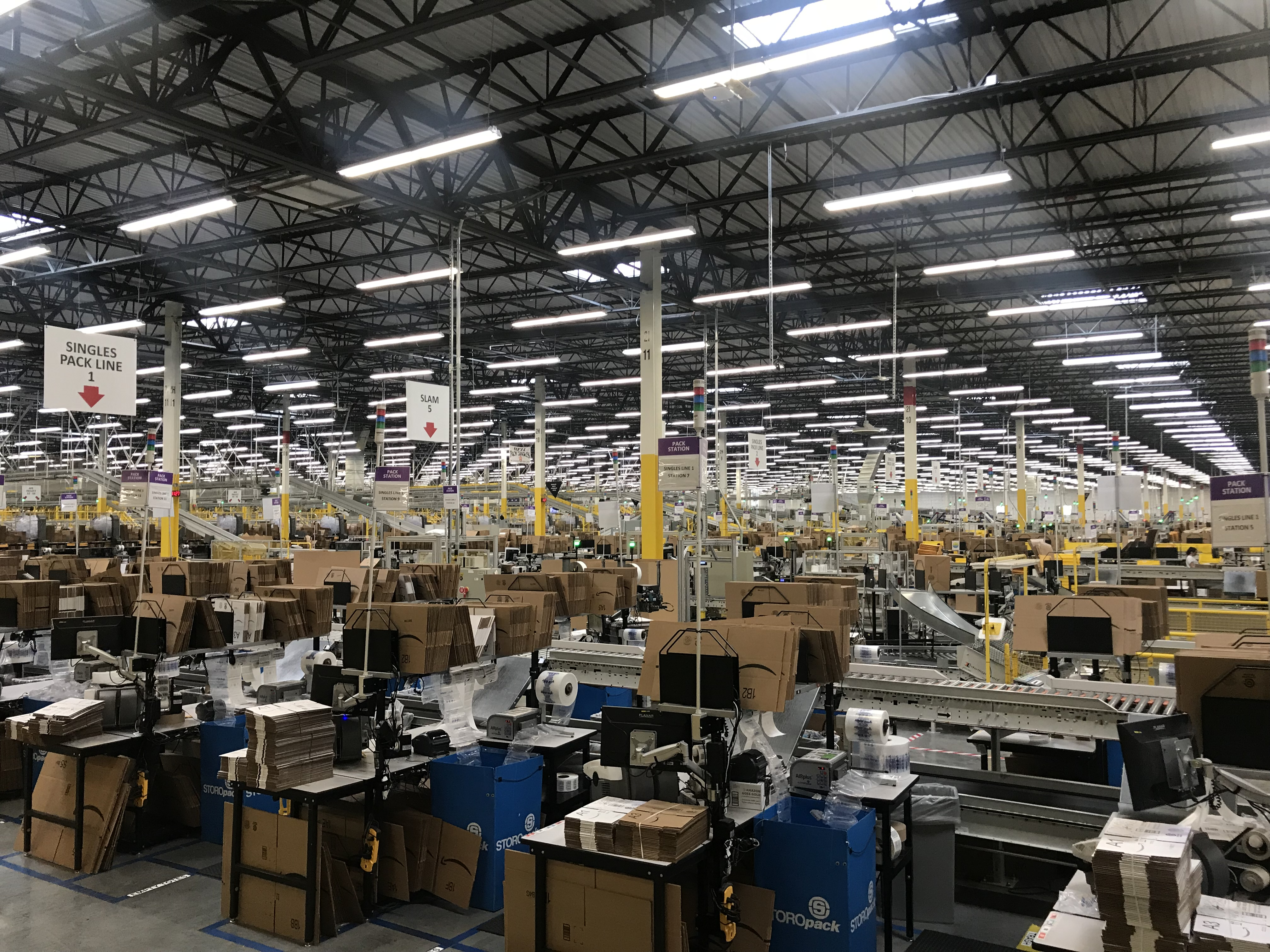 Inside an Amazon warehouse in Kent, Washington.