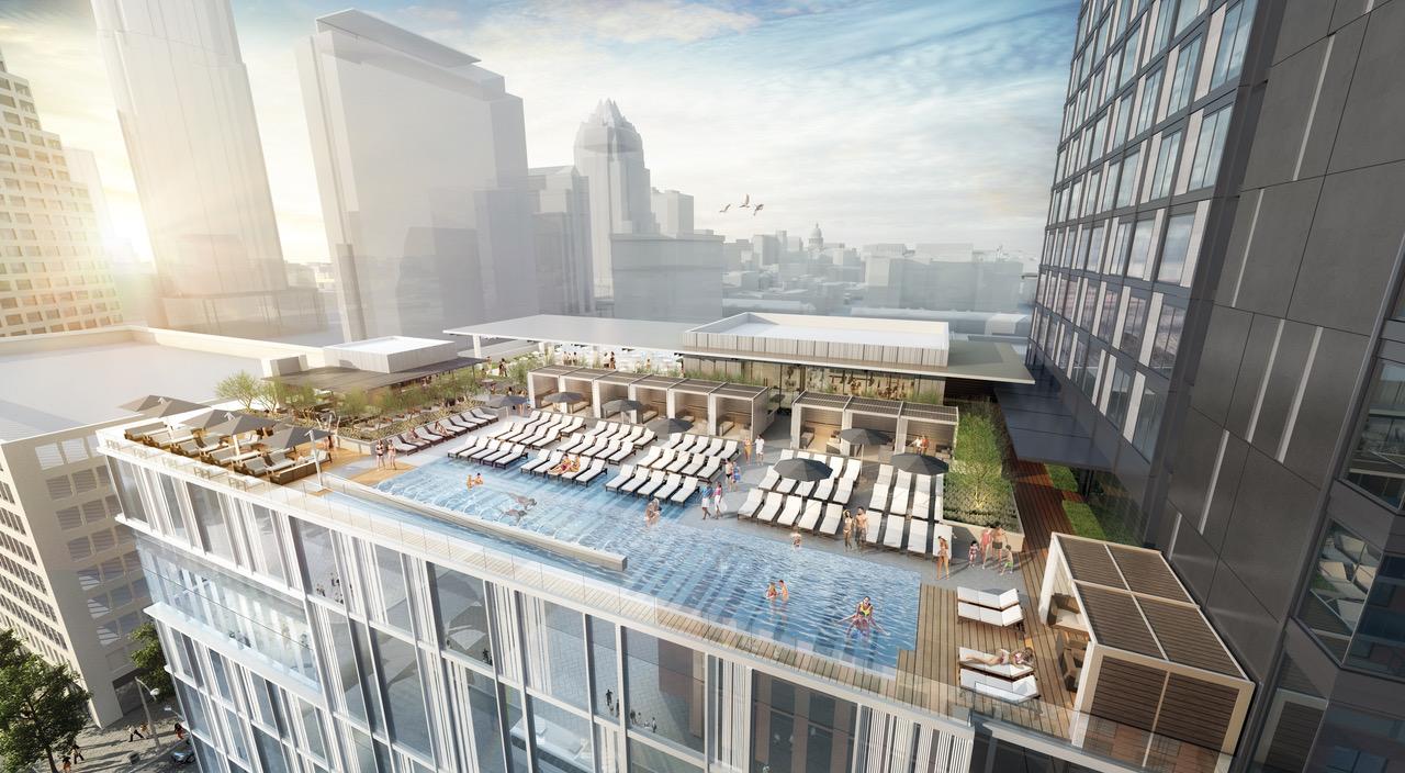 Rendering of pool deck at Austin Marriott Downtown
