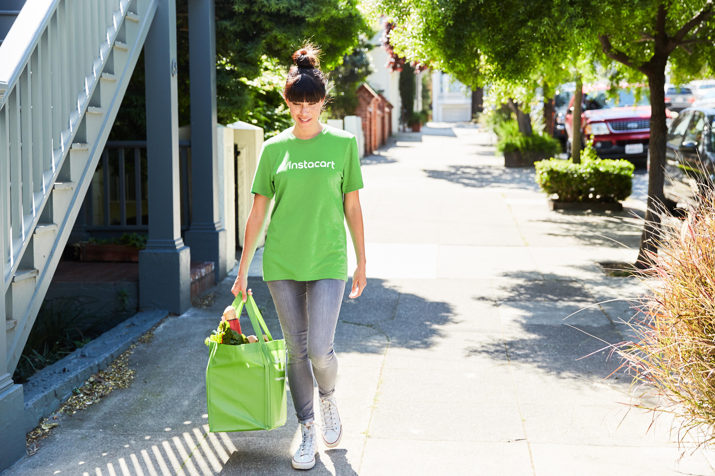 Instacart shopper walking