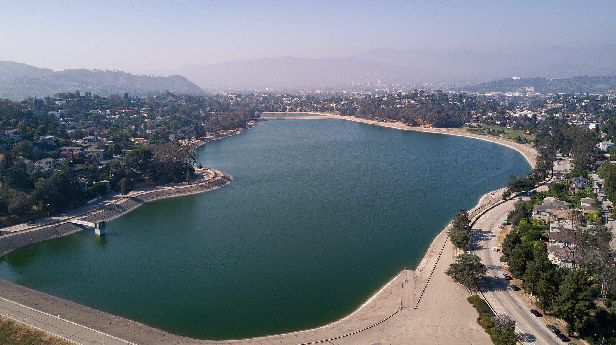 Aerial view of Silver Lake Reservoir