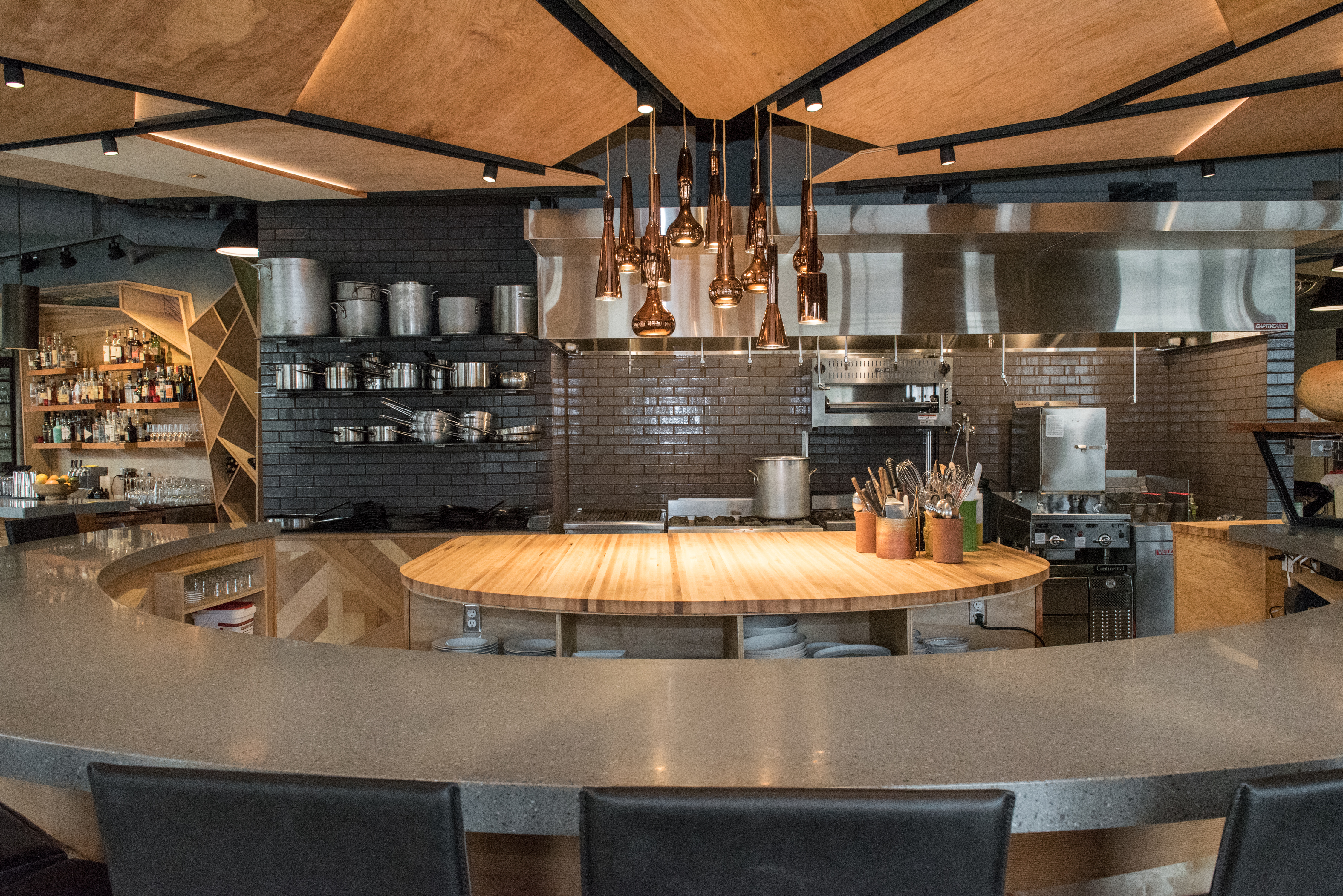 The central counter at Art of the Table, which overlooks the kitchen