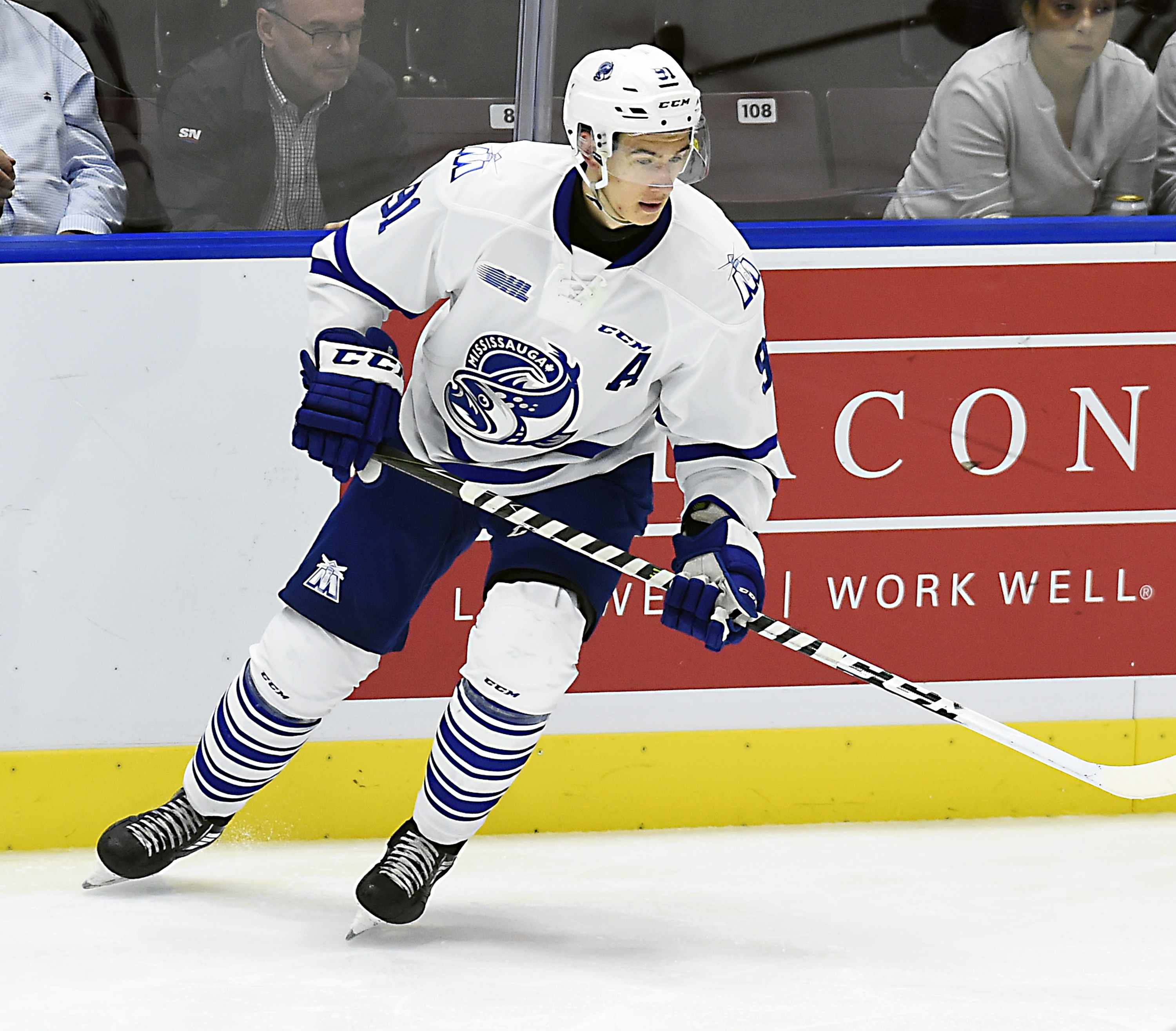MISSISSAUGA, ON - OCTOBER 6: Ryan McLeod #91 of the Mississauga Steelheads turns up ice against the Sudbury Wolves during game action on October 6, 2017 at Hershey Centre in Mississauga, Ontario, Canada.