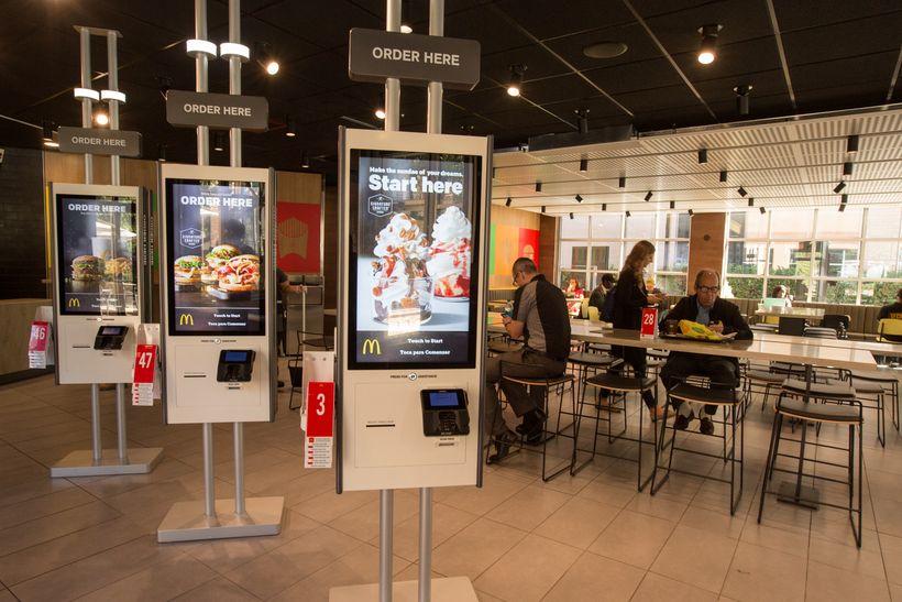 Self-order kiosks at a Chicago McDonald's