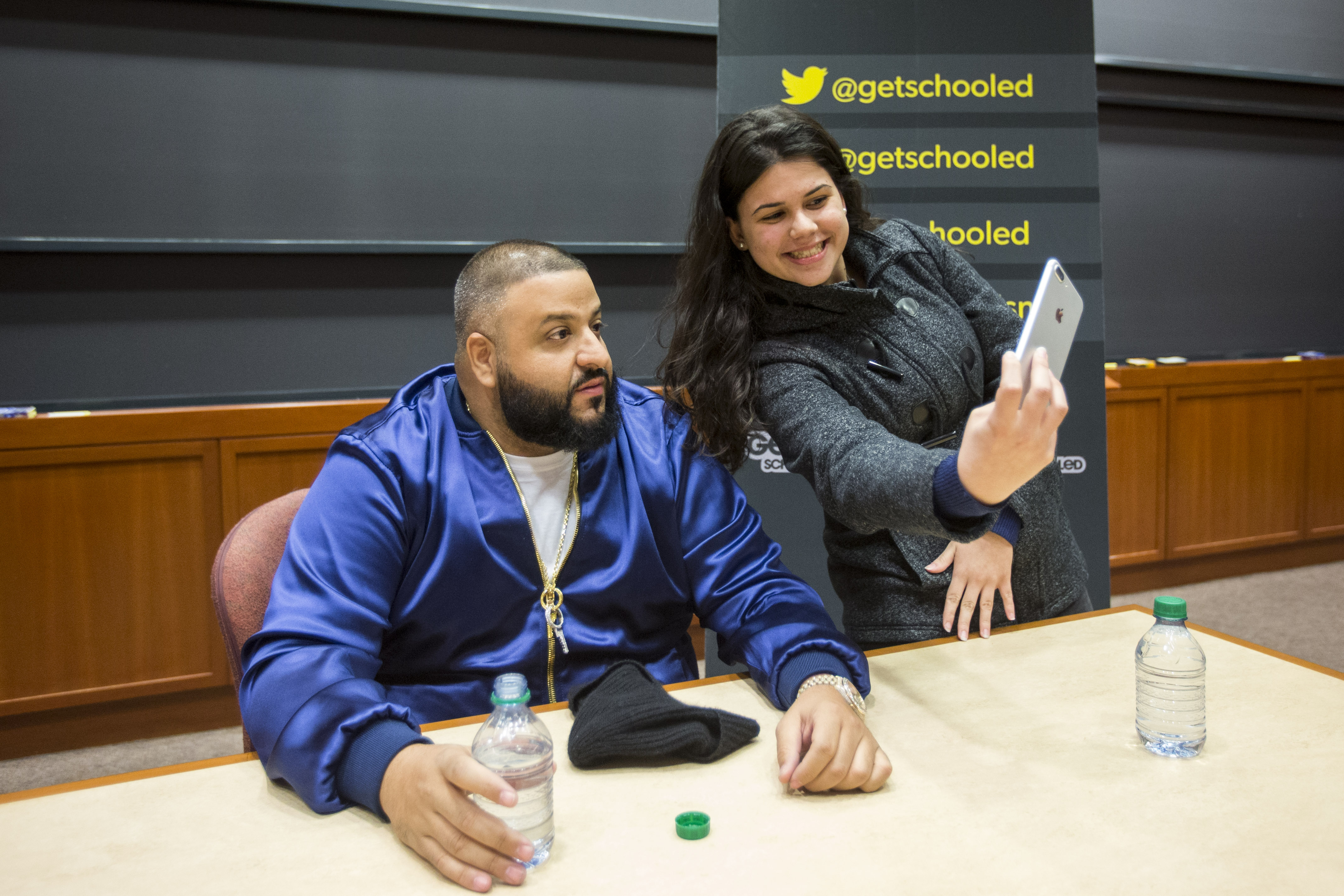 DJ Khaled poses for a selfie with a Harvard student.