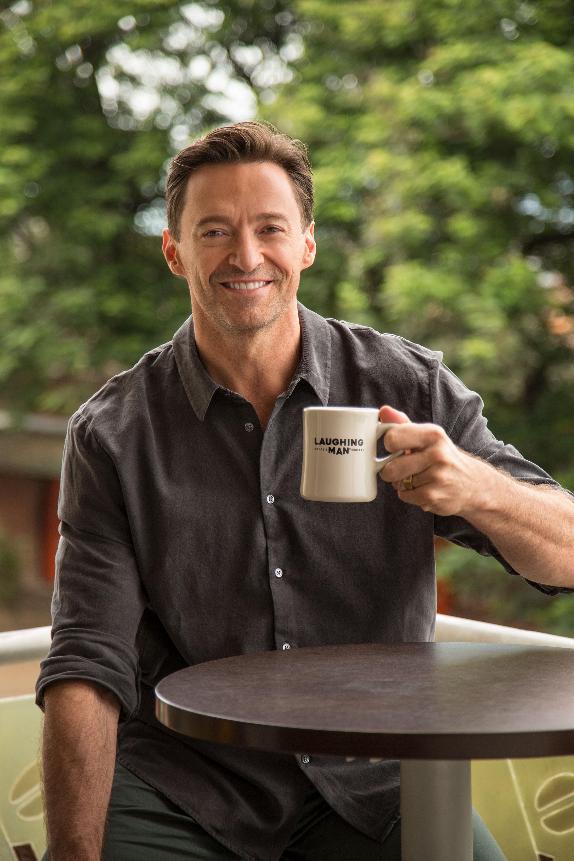 Hugh Jackman drinking Laughing Man Coffee