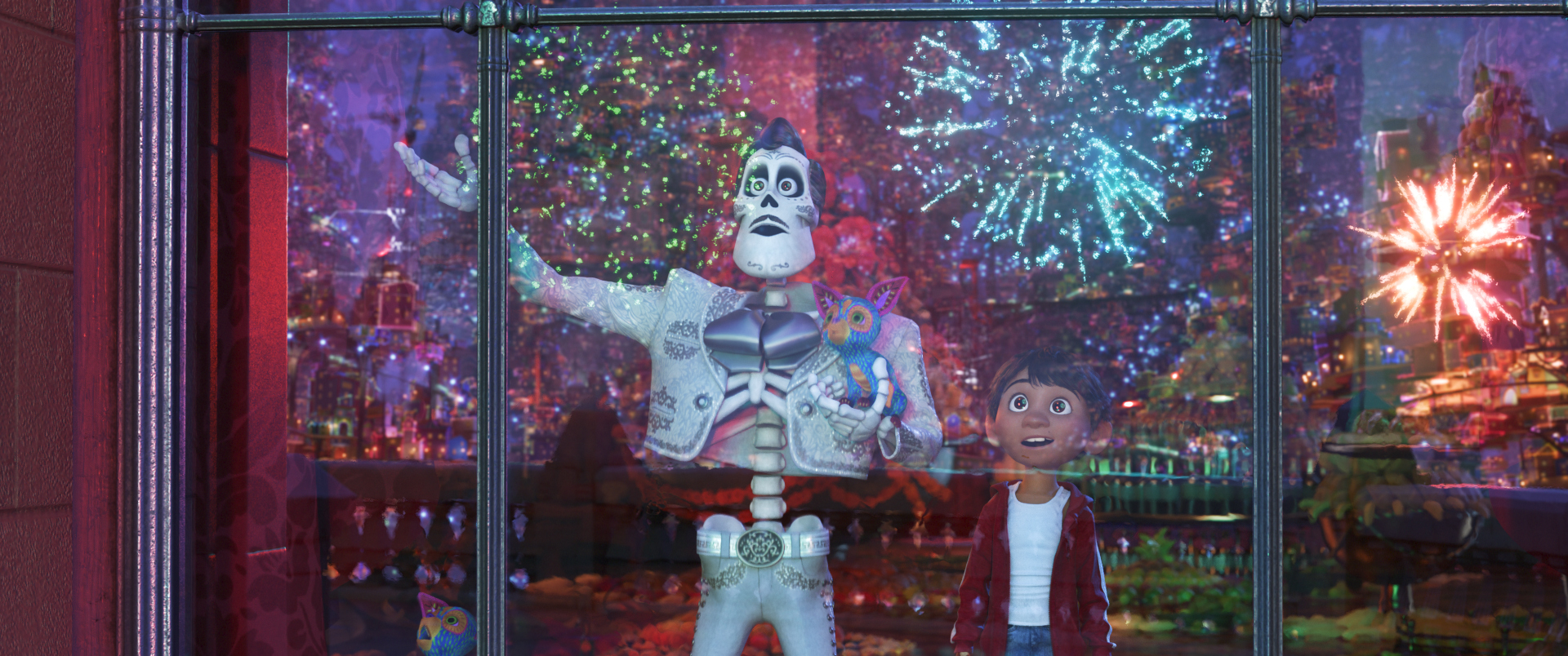 """SPECTACULAR ENCOUNTER – In Disney•Pixar's """"Coco,"""" aspiring musician Miguel (voice of Anthony Gonzalez) takes an extraordinary journey through the Land of the Dead in search of his idol. He finds that Ernesto de la Cruz (voice of Benjamin Bratt) just might be an even bigger star than he was in the Land of the Living. Disney•Pixar's """"Coco"""" opens in U.S. theaters on Nov. 22, 2017. Tickets are on sale now at Fandango and Atom. ©2017 Disney•Pixar. All Rights Reserved."""