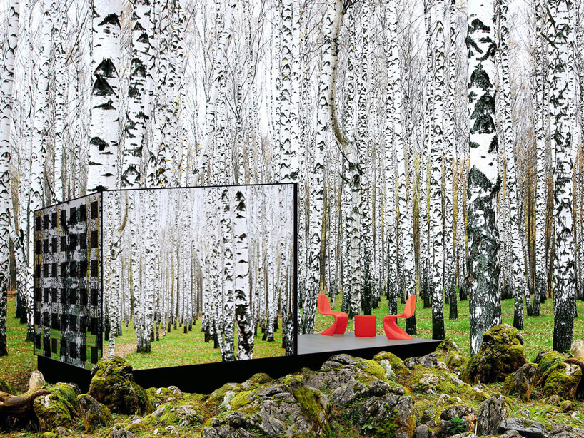 Mirrored off-grid prefab can be a tiny home, office, or sauna