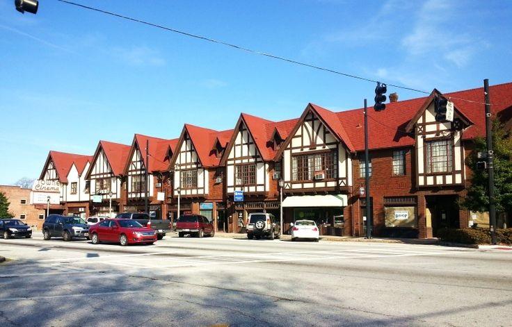 A photo of The recognizable, Tudor-style commercial village of Avondale Estates.