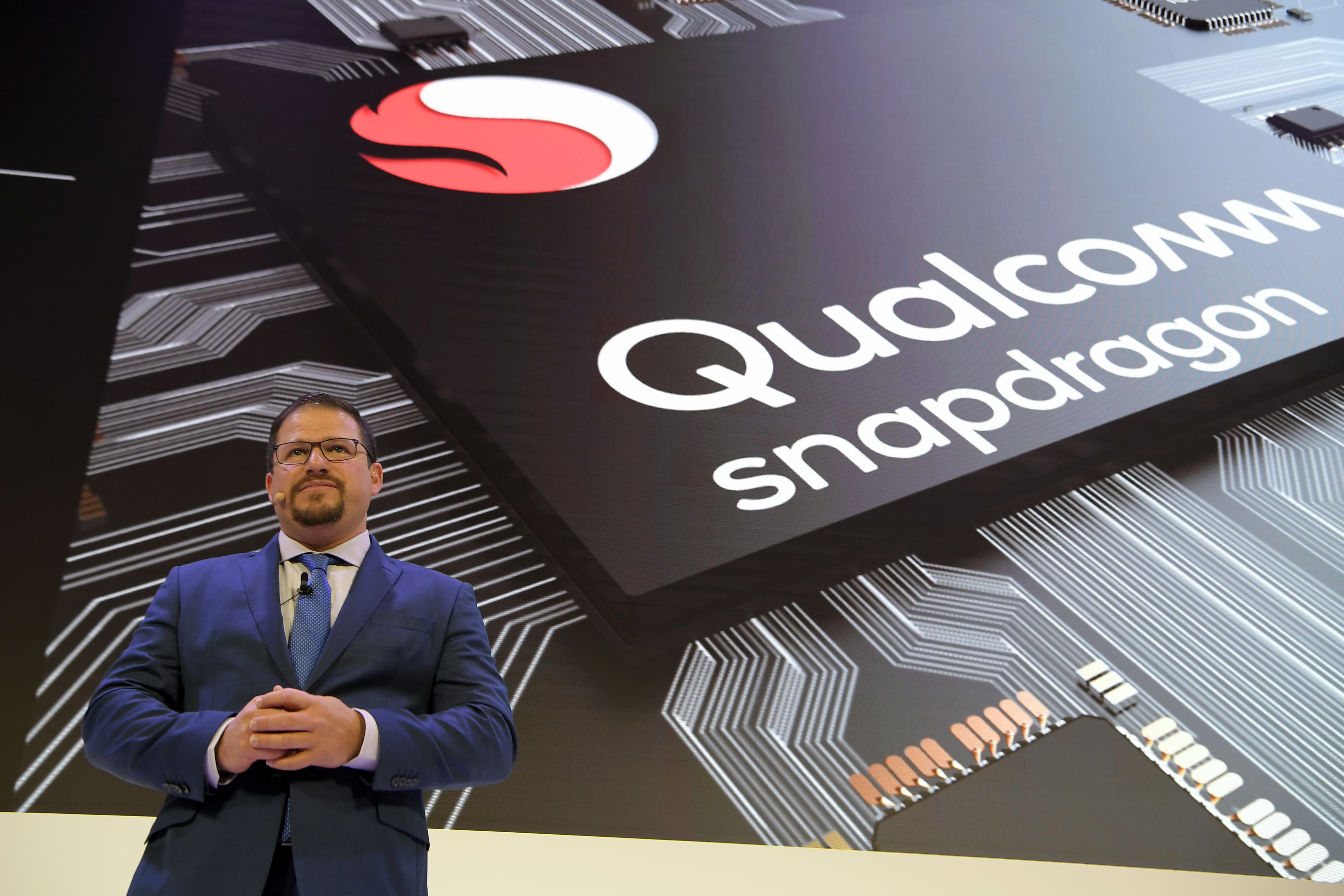 Cristiano Amon, president of Qualcomm Inc., gives a press conference on Feb. 26, 2018 in Barcelona, Spain, on the first day of the Mobile World Congress.