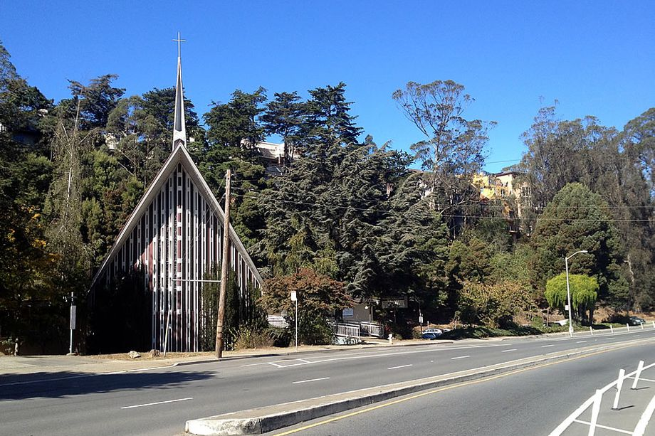 The church building and mostly undeveloped hillside at 250 Laguna Honda.