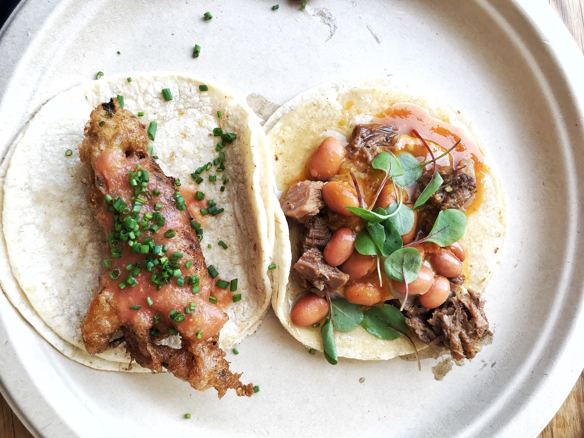 A white paper plate holds two tacos, with beans.