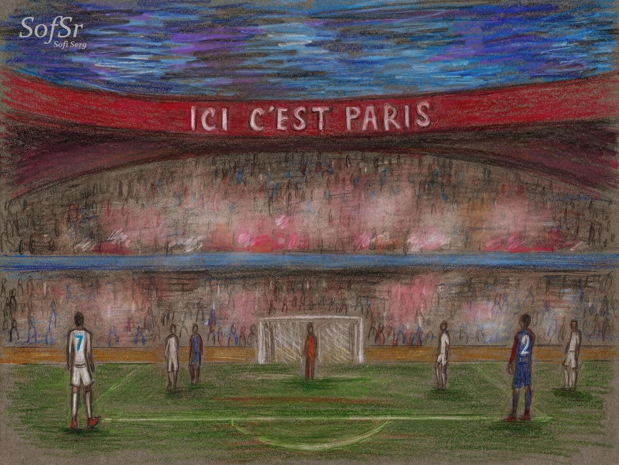 PSG vs Real Madrid. Illustration by Sofi Serg.